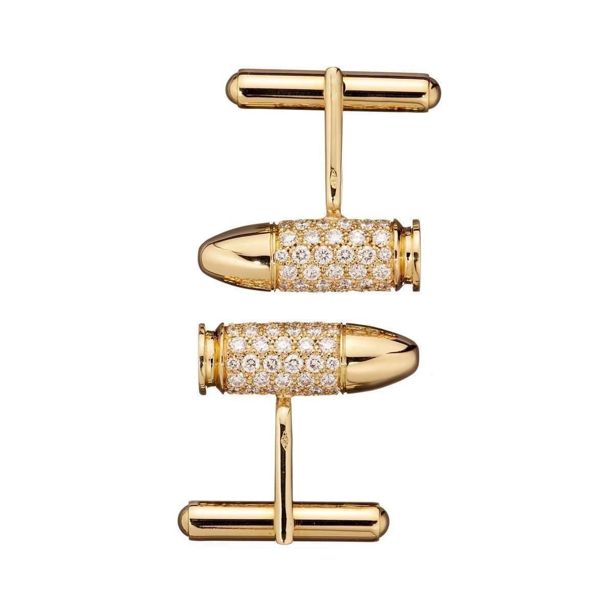 Akillis Bang Bang Yellow Gold Diamond Cufflinks byBiIXI8S0
