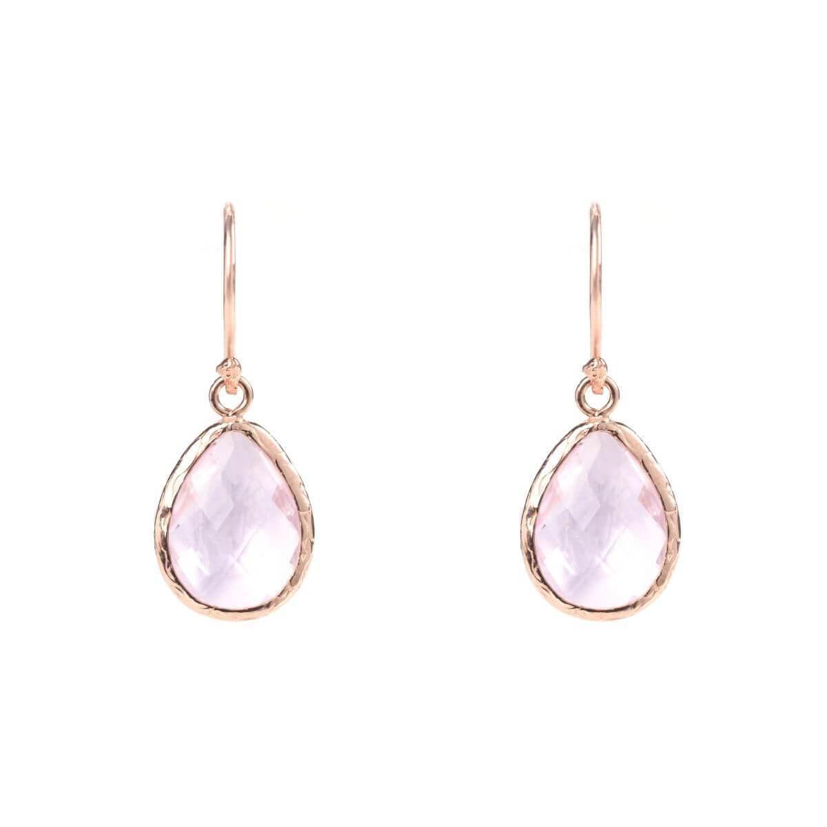 Latelita London Rose Gold Petite Drop Earring Rose Quartz FYsBb8Db