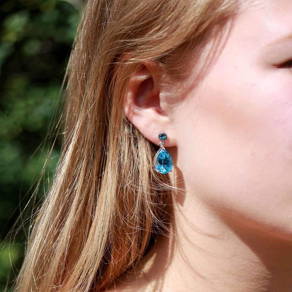 Will Bishop White Gold & Blue Topaz Earrings