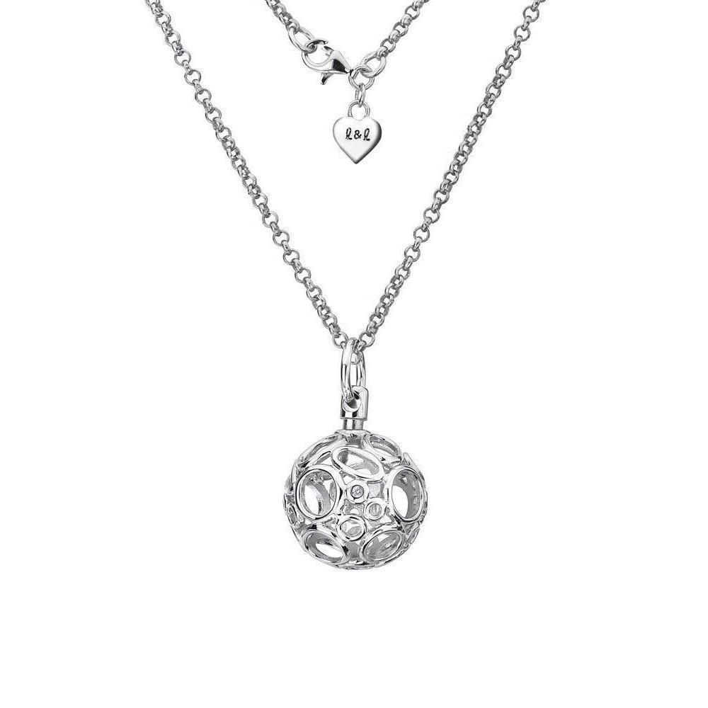 Lily & Lotty Chloe Silver & Diamond Openwork Ball Necklace fEqLcIBsL