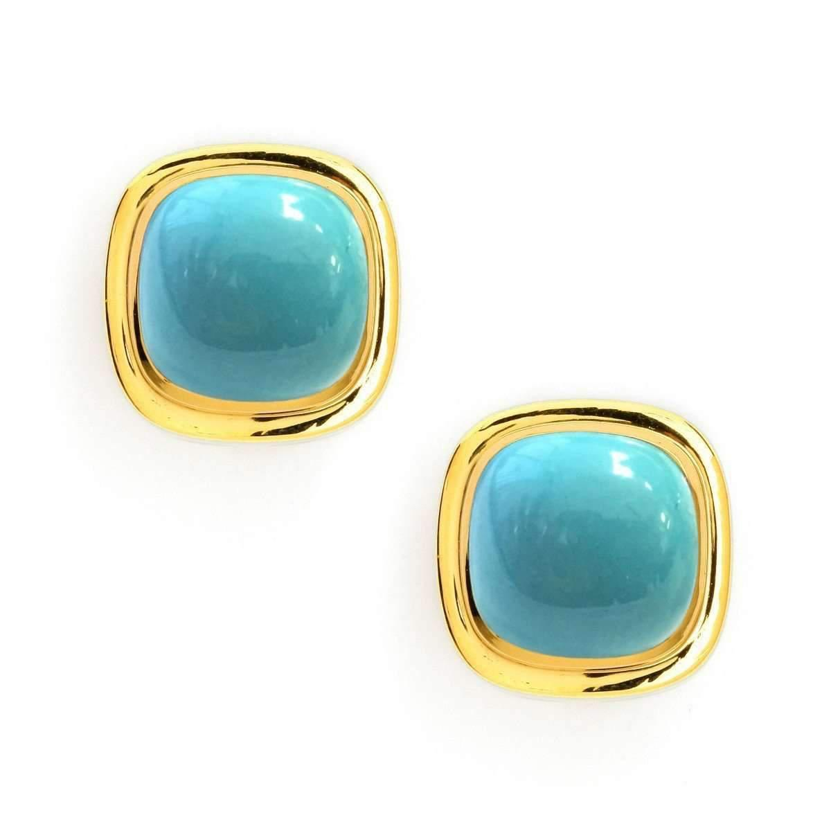 Syna 18kt Turquoise Sugarloaf Earrings 2yAvmpOt
