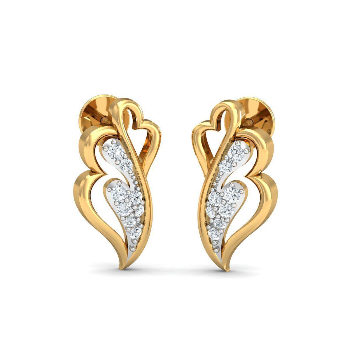 Diamoire Jewels 18kt Yellow Gold 0.13ct Pave Diamond Infinity Earrings III 0Hd4X38ja