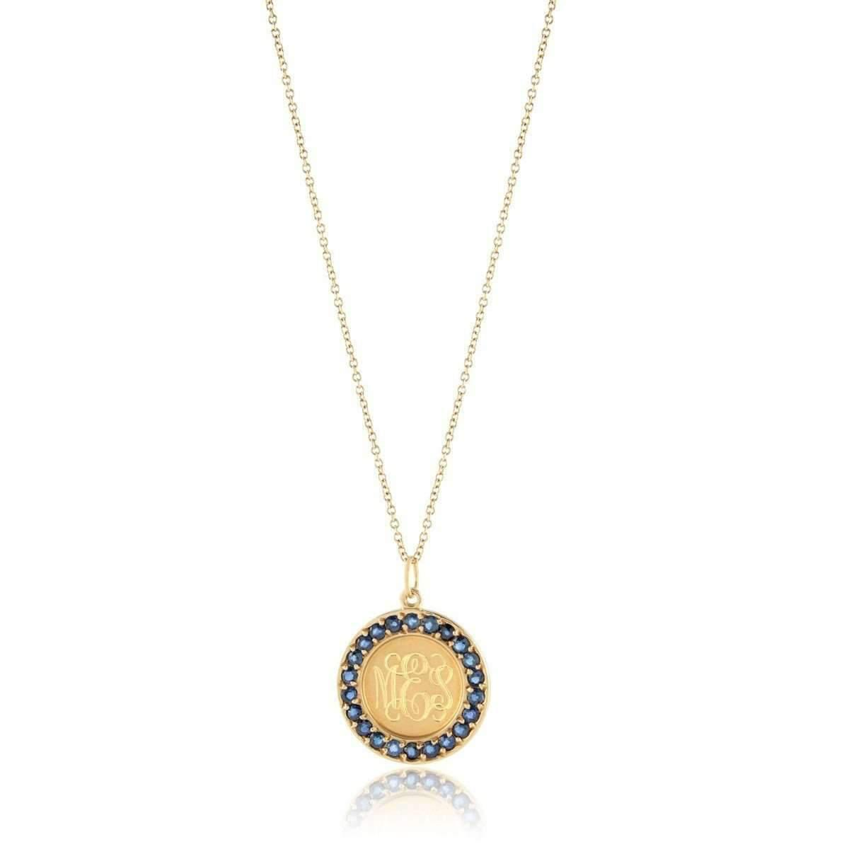 Emily & Ashley Classic Charm Disc with Blue Sapphires Necklace Jtd832X