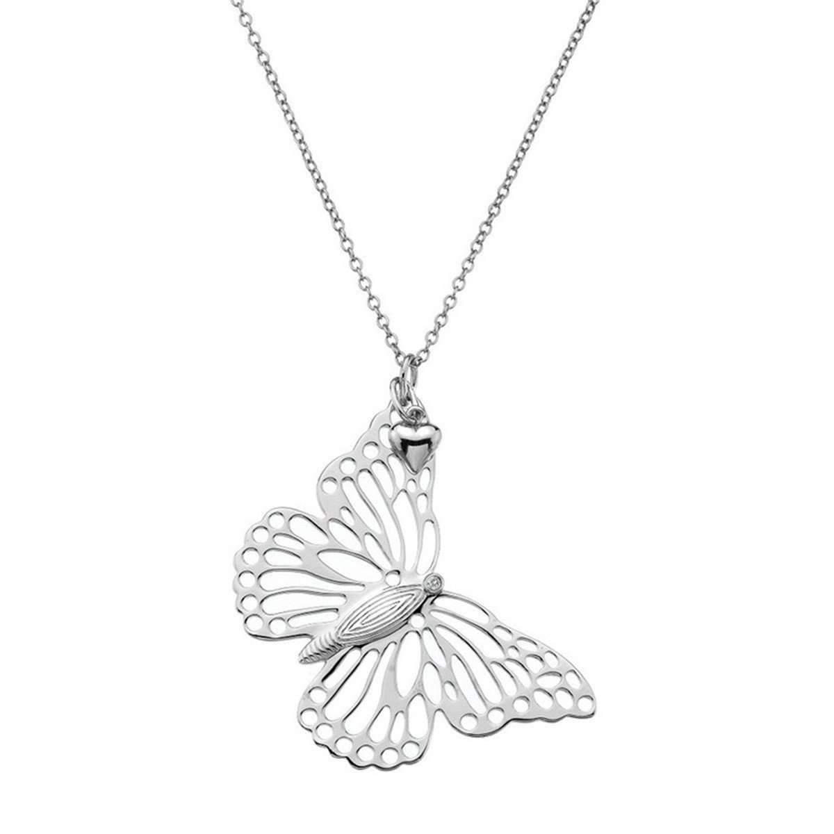Lily & Lotty Ellice Silver & Diamond Long Necklace aFg1F8L