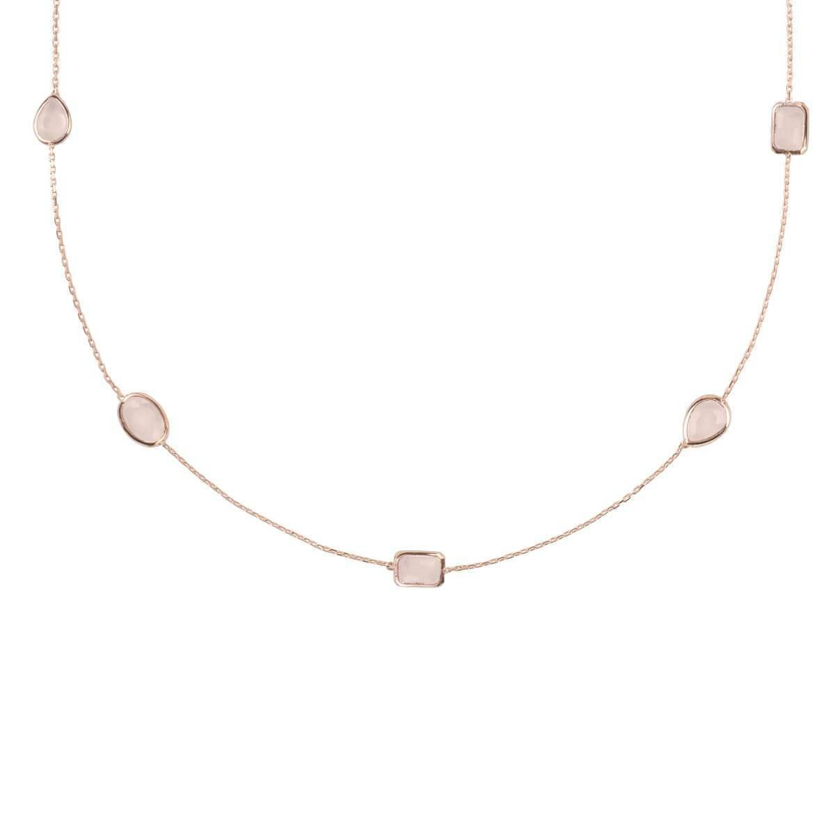 Latelita London Venice Long Chain Necklace Rose Gold Amethyst