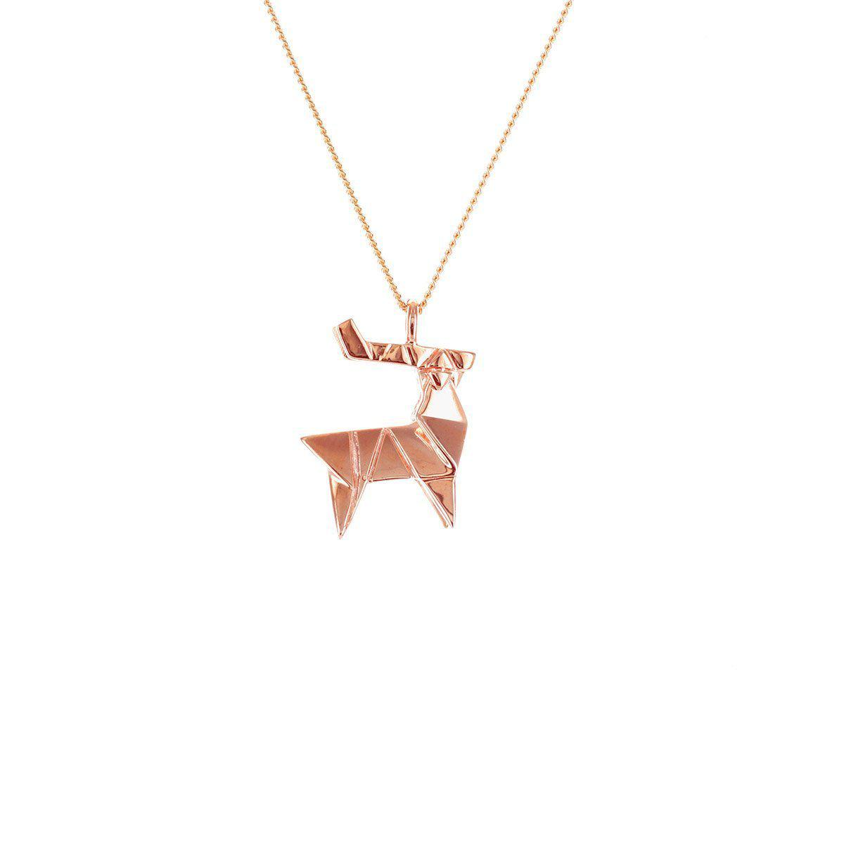 Origami Jewellery Sterling Silver & Pink Gold Mini Decagem Origami Necklace l0MuicmHM