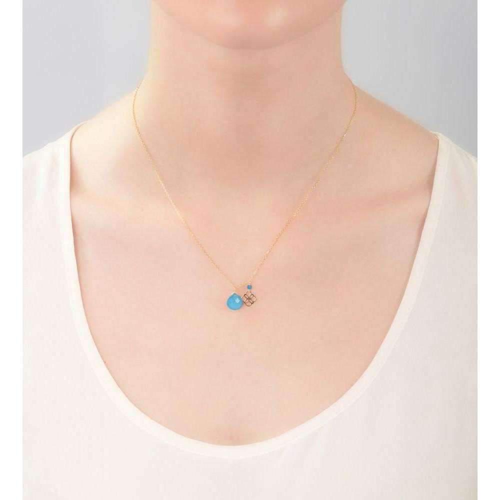 Perle de lune Blue Jade Drop And Daisy Pendant 18kt Gold j8l3Y