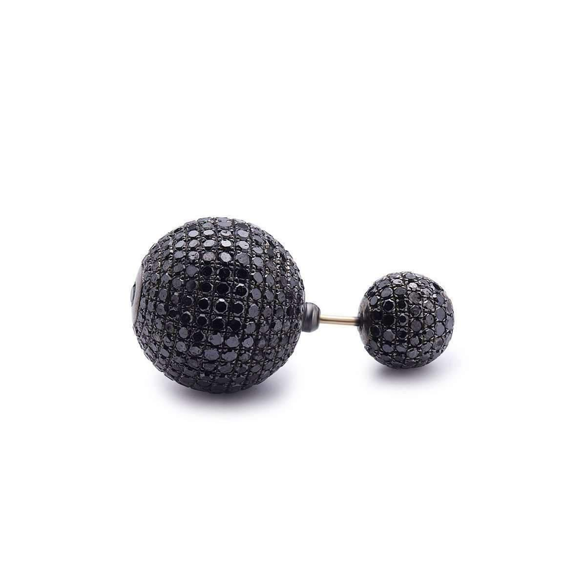 Socheec Black Diamond Ball Earring HU8i4nPT5
