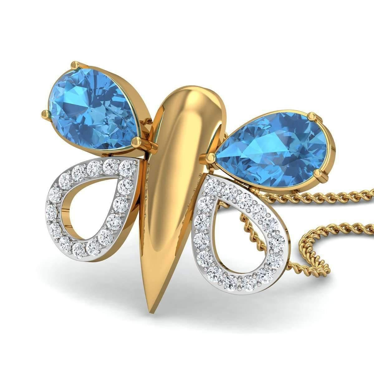 Diamoire Jewels Pear Cut Aquamarine and Diamond Butterfly Pendant in 10kt Yellow Gold