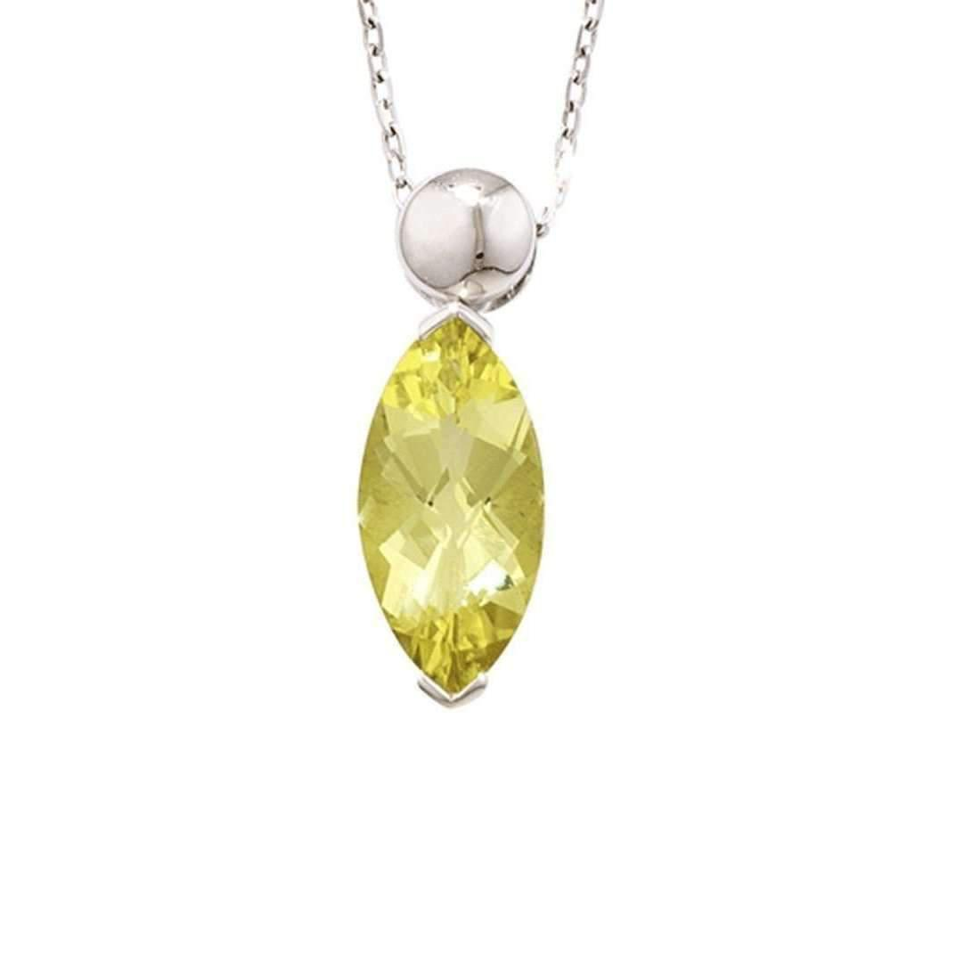 London Road Jewellery Bloomsbury White Gold Marquise Lemon Quartz Pendant