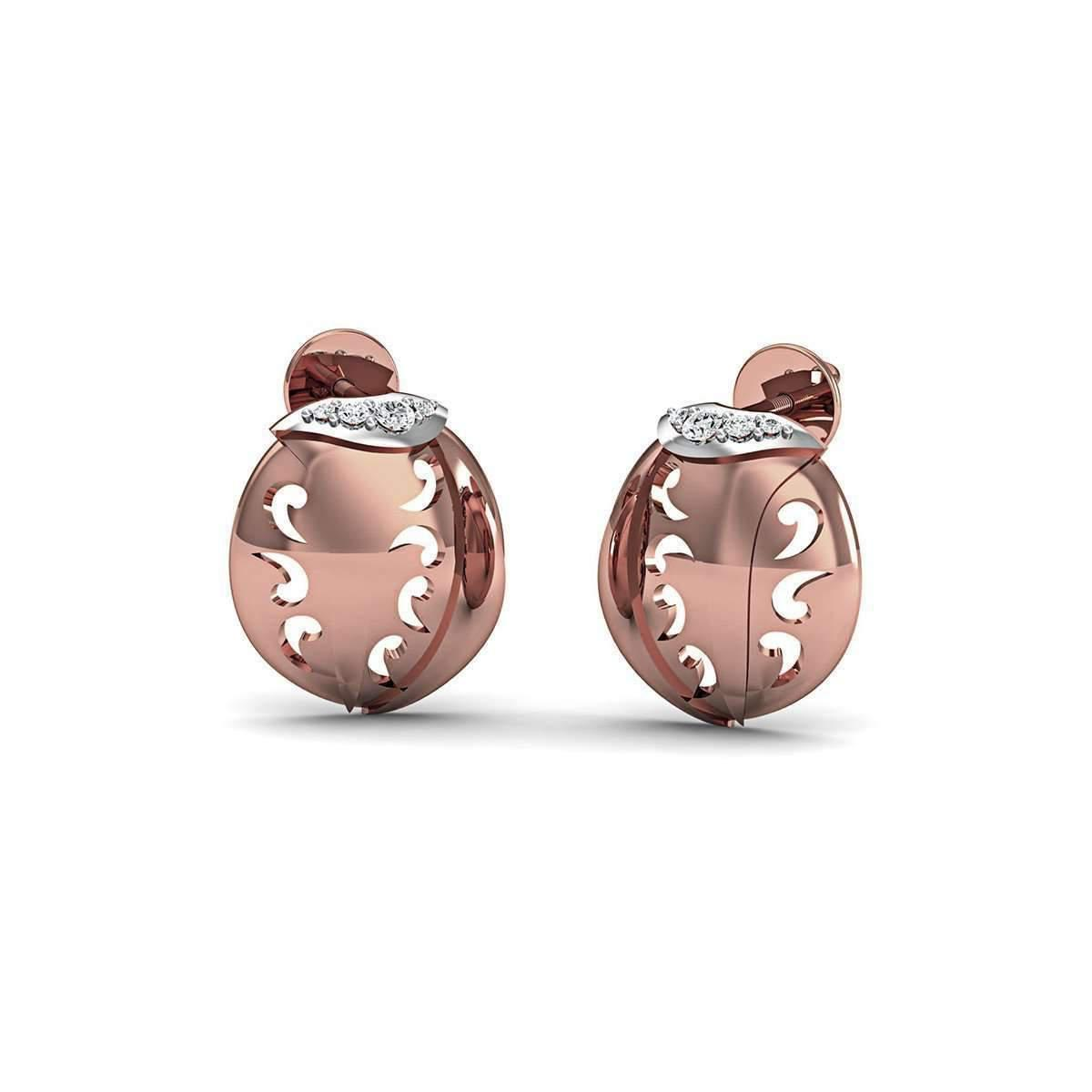 Diamoire Jewels Diamonds and Hand-carved 14kt Rose Gold Pave Earrings sh4rlr5O3
