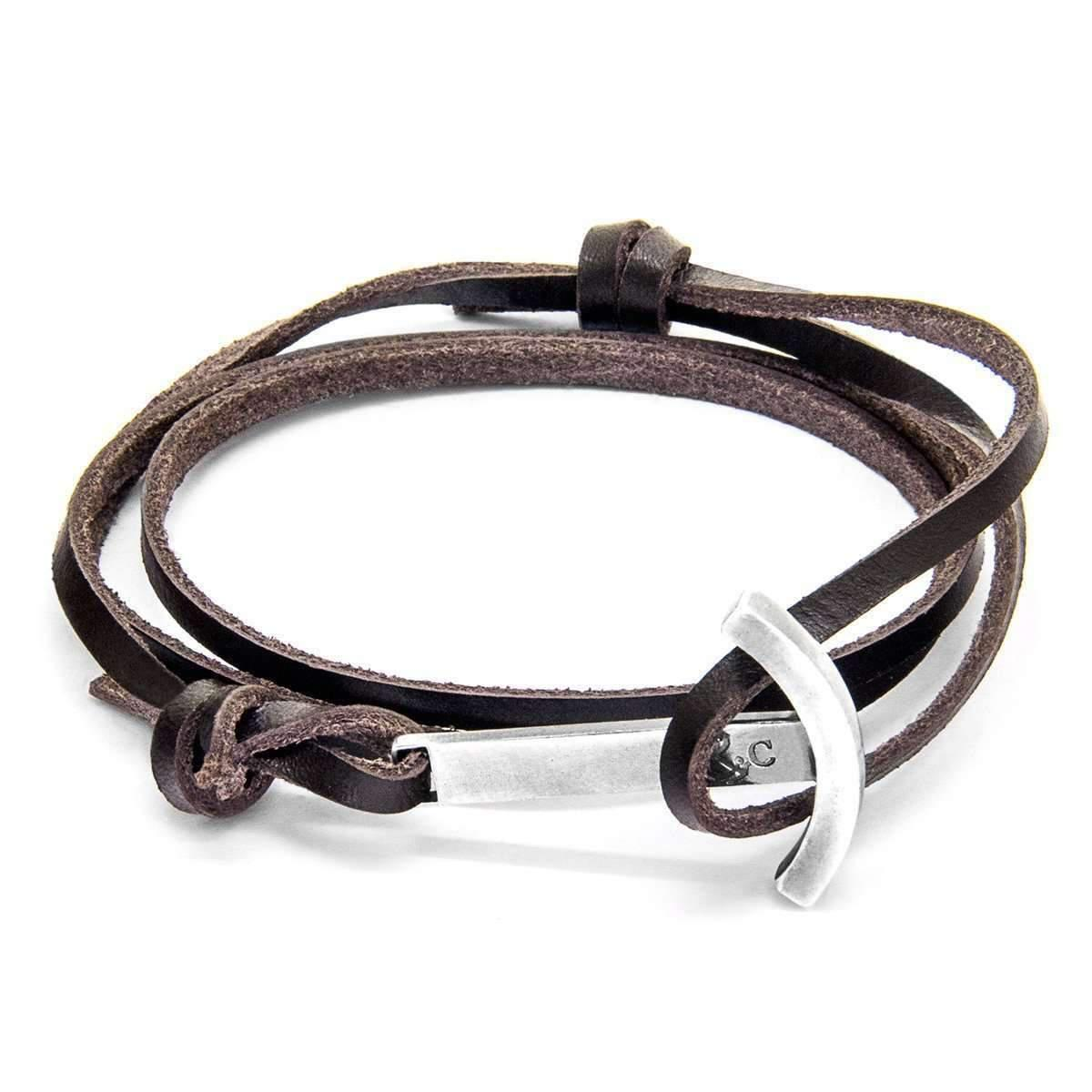 Anchor & Crew Dark Brown Clipper Silver And Leather Bracelet
