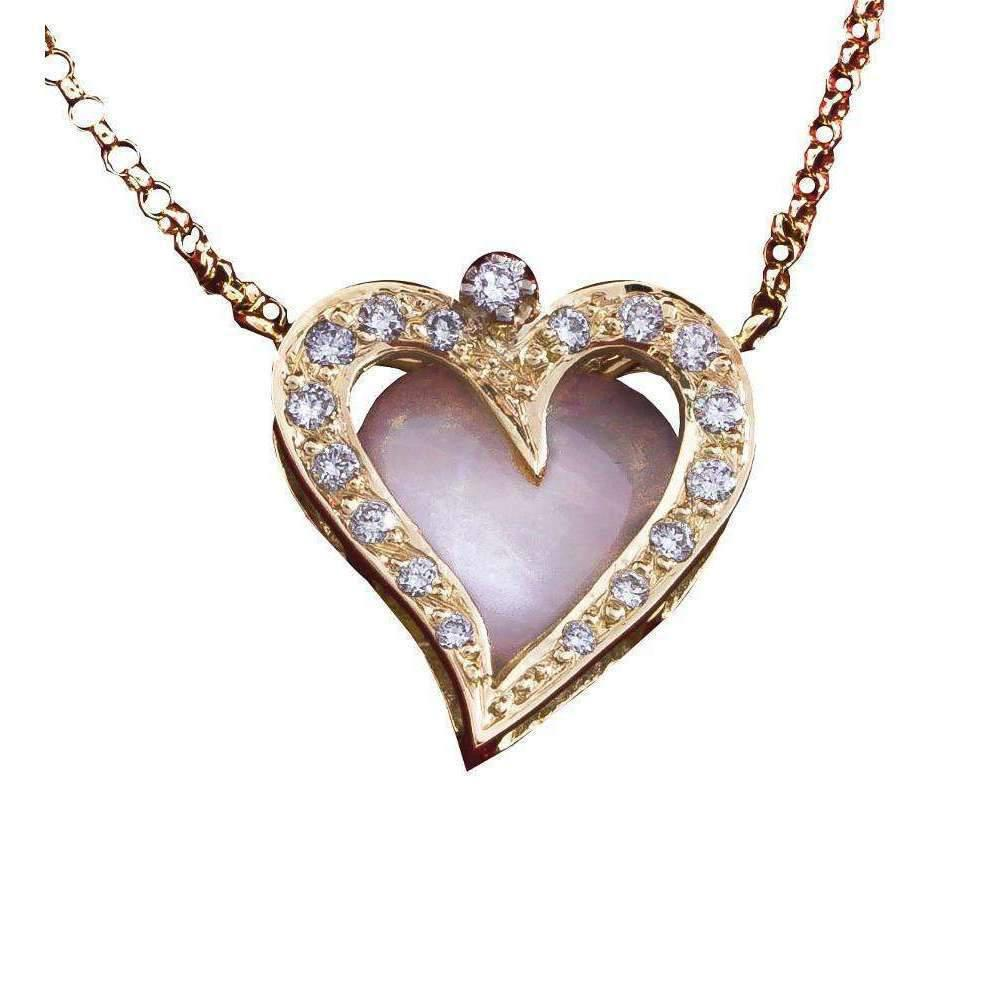 Daou Jewellery 18kt Gold & Diamond Open Heart Pendant 6PycfK