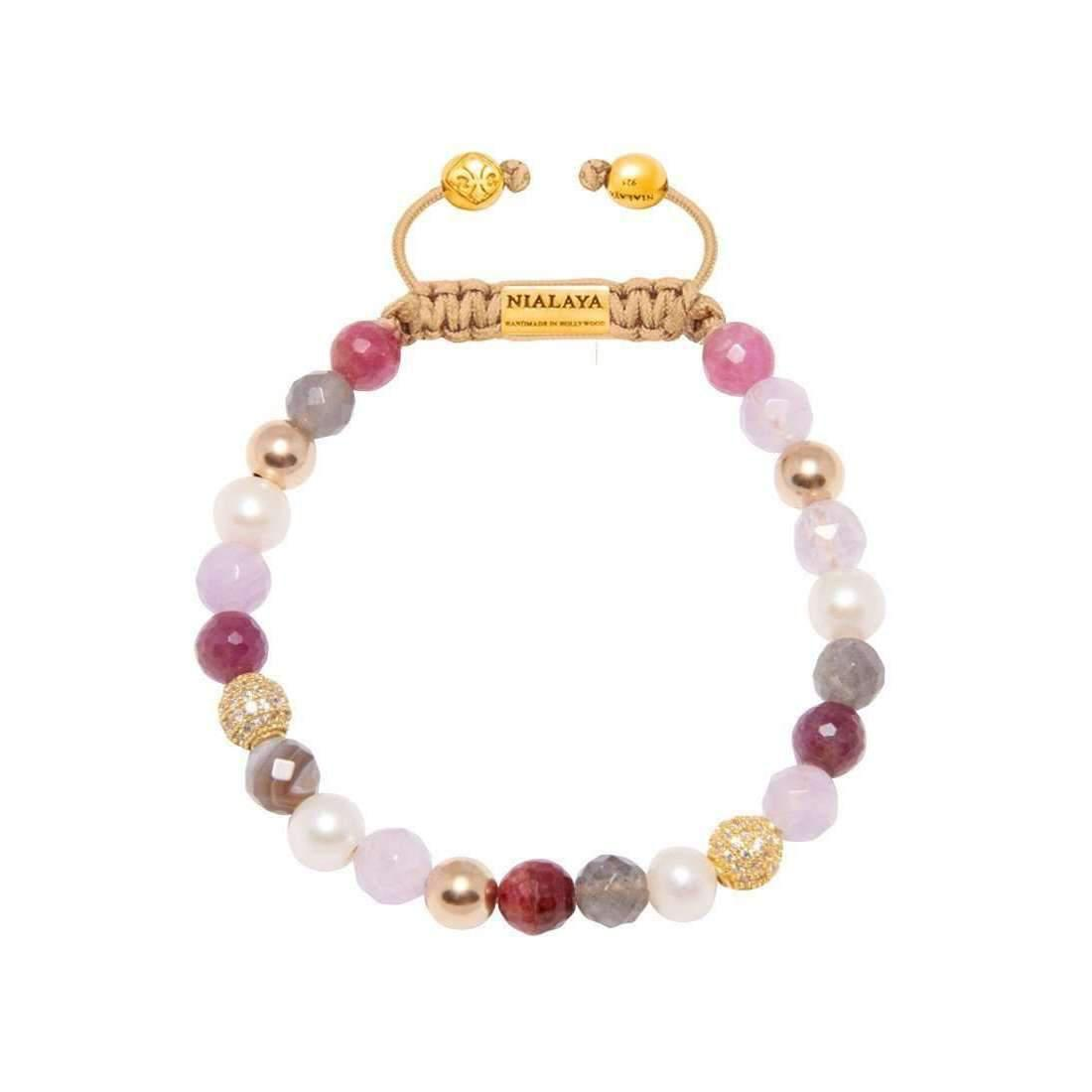 Nialaya Beaded Wristband with White Pearl and Gold - Extra Small n39e8TW