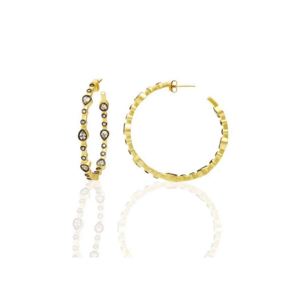 Freida Rothman Two Tone Teardrop Hoop Earrings kQNig