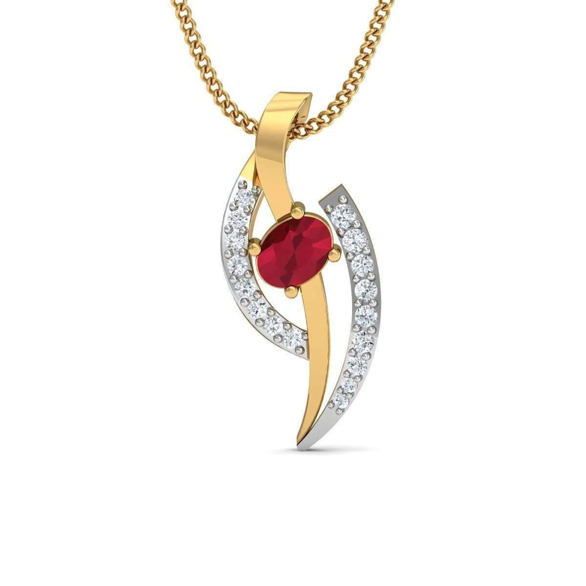 Diamoire Jewels Pave Set Diamond and Pear Cut Ruby Pendant in 10kt Yellow Gold 7giBqoc7jz