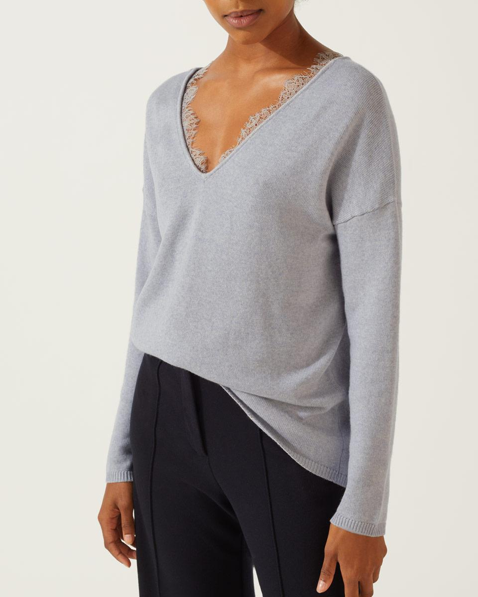 825fa4abb9 Jigsaw Lace Front V Neck Jumper in Gray - Save 60.0% - Lyst
