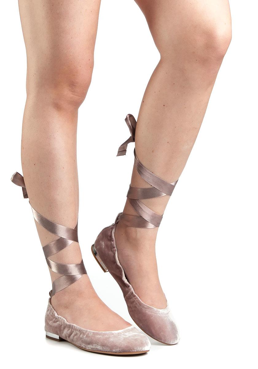 66bd6534e Sam Edelman Fallon Pink Velvet Lace-Up Ballet Flats in Pink - Lyst