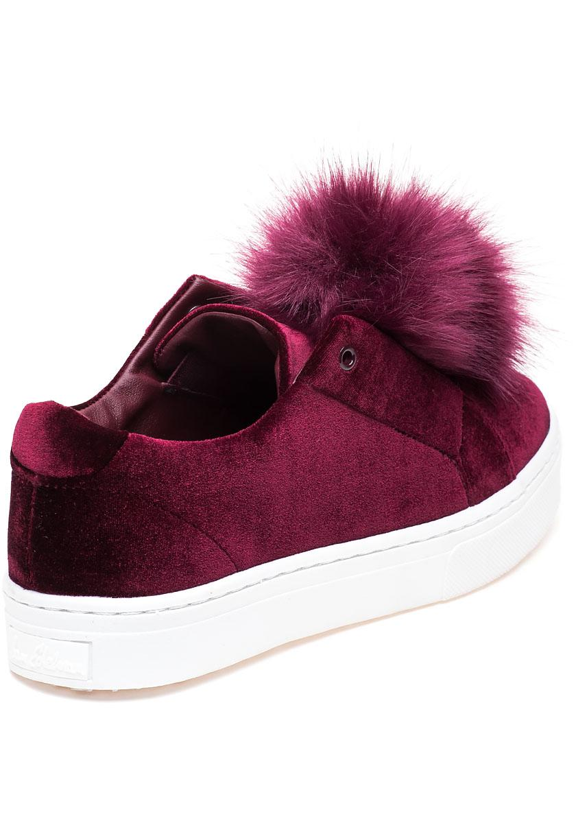ed9326825615 Lyst - Sam Edelman Leyla Wine Velvet Pom Pom Sneaker in Red