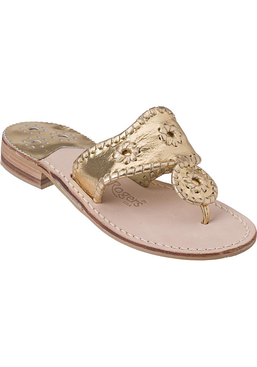 ad78a920981f Lyst - Jack Rogers Hamptons Thong Sandal Gold Leather in Metallic