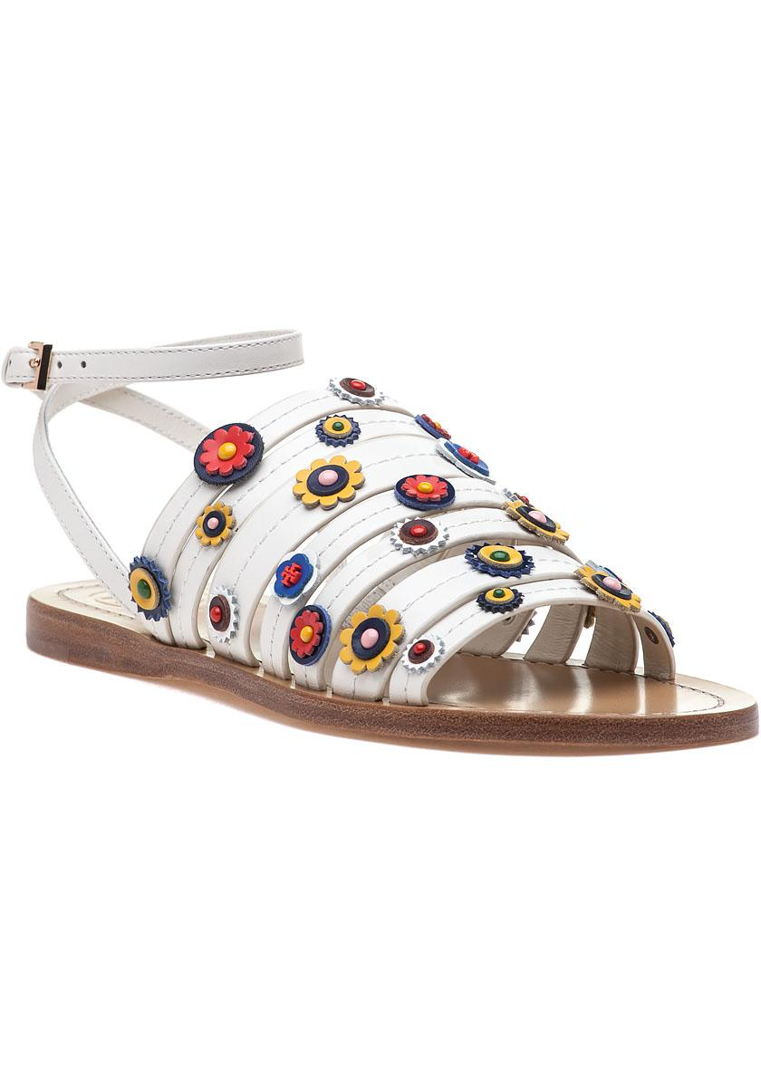1d8ea0149b517 Tory Burch Marguerite Sandal Ivory Leather in White - Lyst
