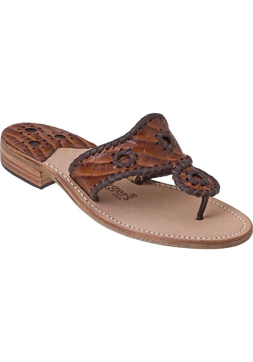 63e6b91e5f Jack Rogers Thong Sandal Brown Croc in Brown - Lyst