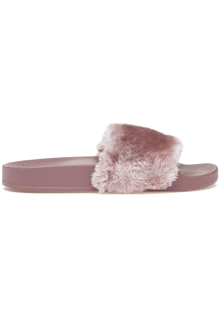 Steve Madden Softey Pool Slide Mauve Fluffy In Pink Lyst
