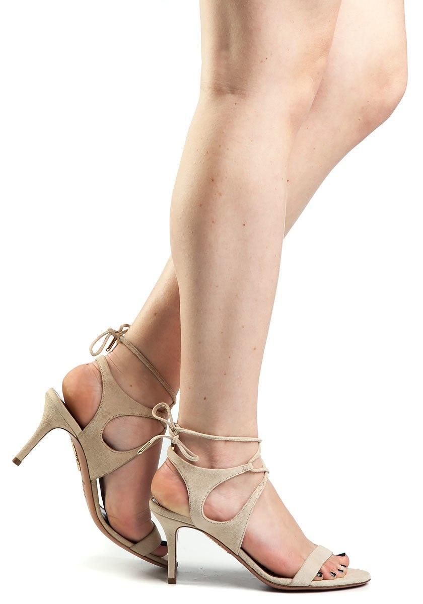 bc6706038a3e Aquazzura Colette 75 Nude Suede Sandal in Natural - Lyst