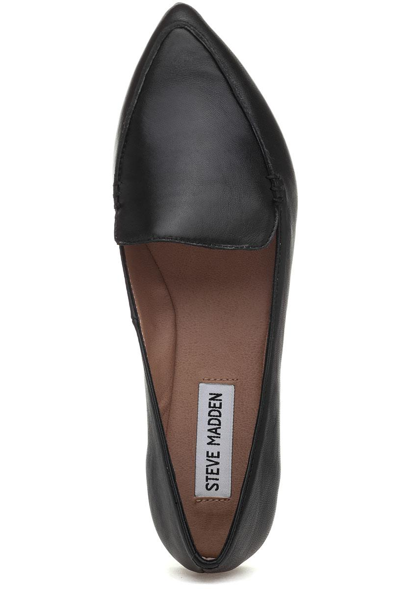 4556faad90c Lyst - Steve Madden Feather Loafer Black Leather in Black