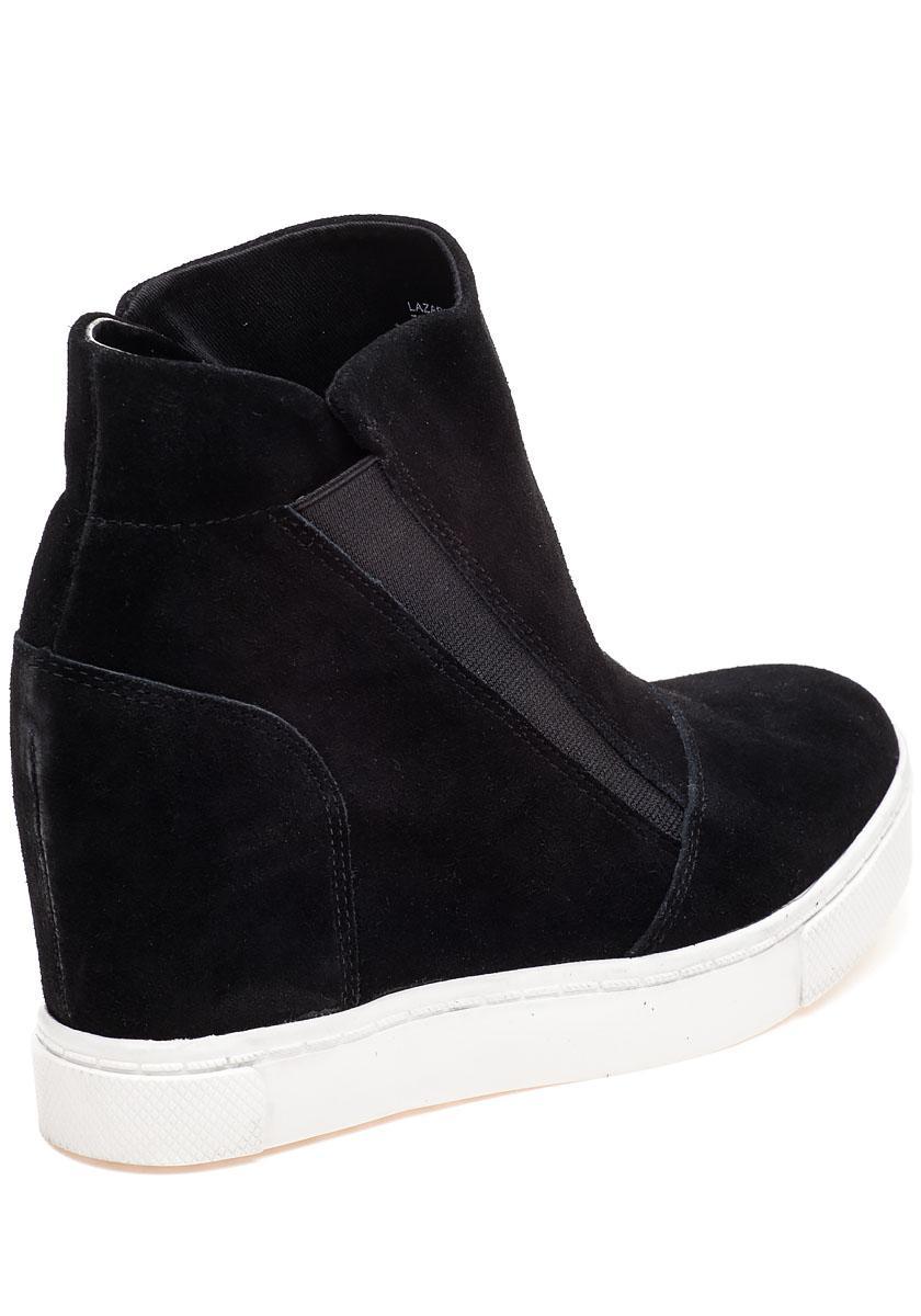 c36ef5b08aa Lyst - Steve Madden Lazaruss Black Suede Sneaker Wedge in Black