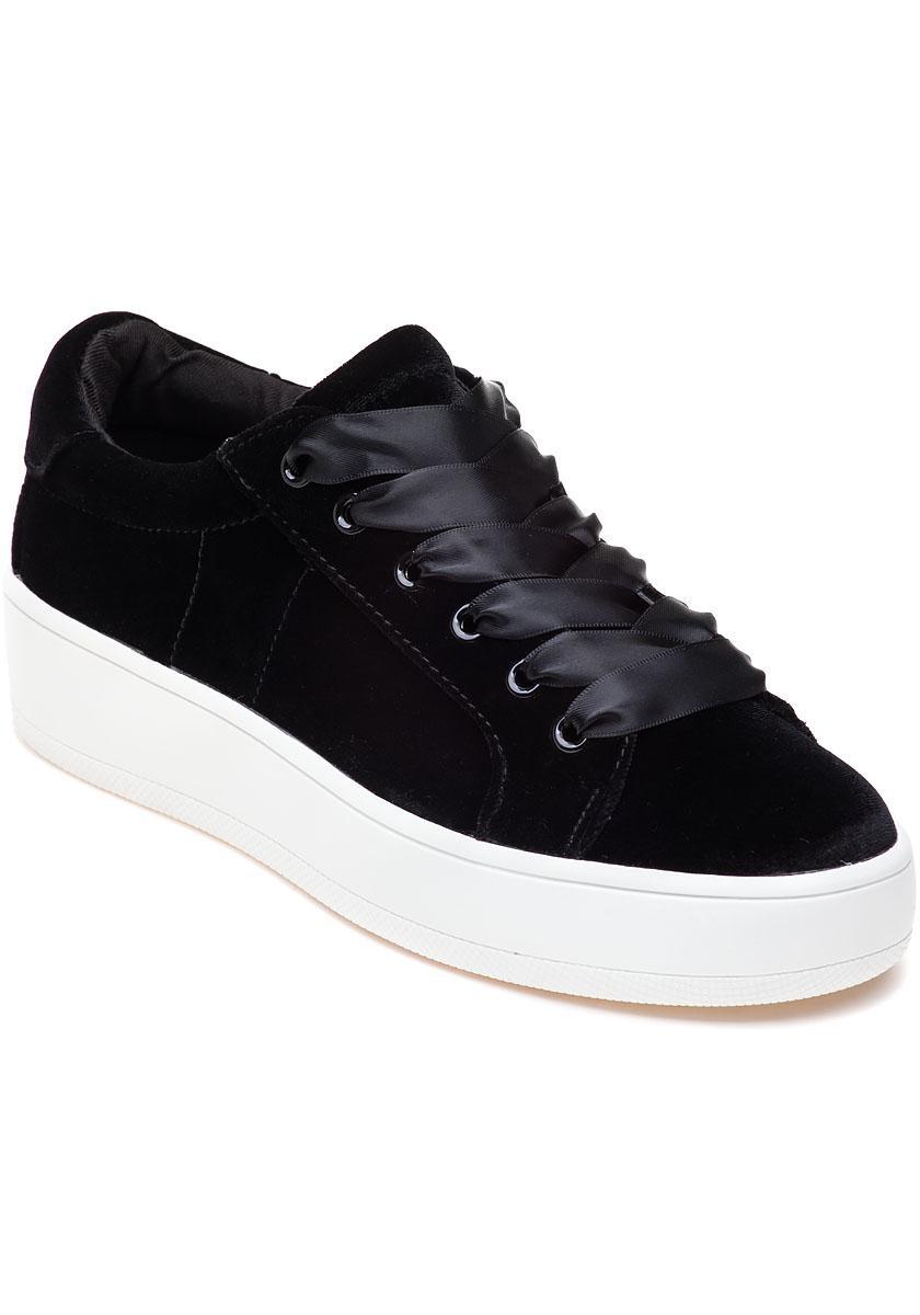 1be9999b952d Lyst - Steve Madden Bertie-v Black Velvet Sneaker in Black