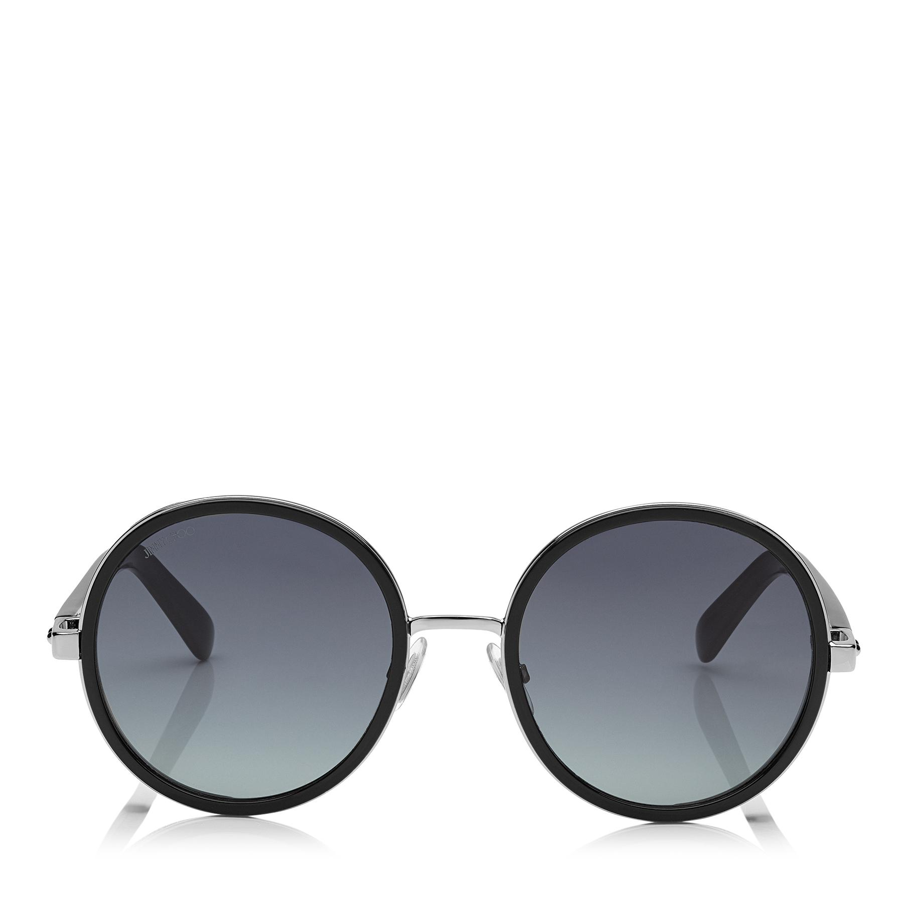 eb8015c7715 Jimmy Choo - Multicolor Andie Black Acetate Round Framed Sunglasses With  Silver Lurex Detailing - Lyst. View fullscreen