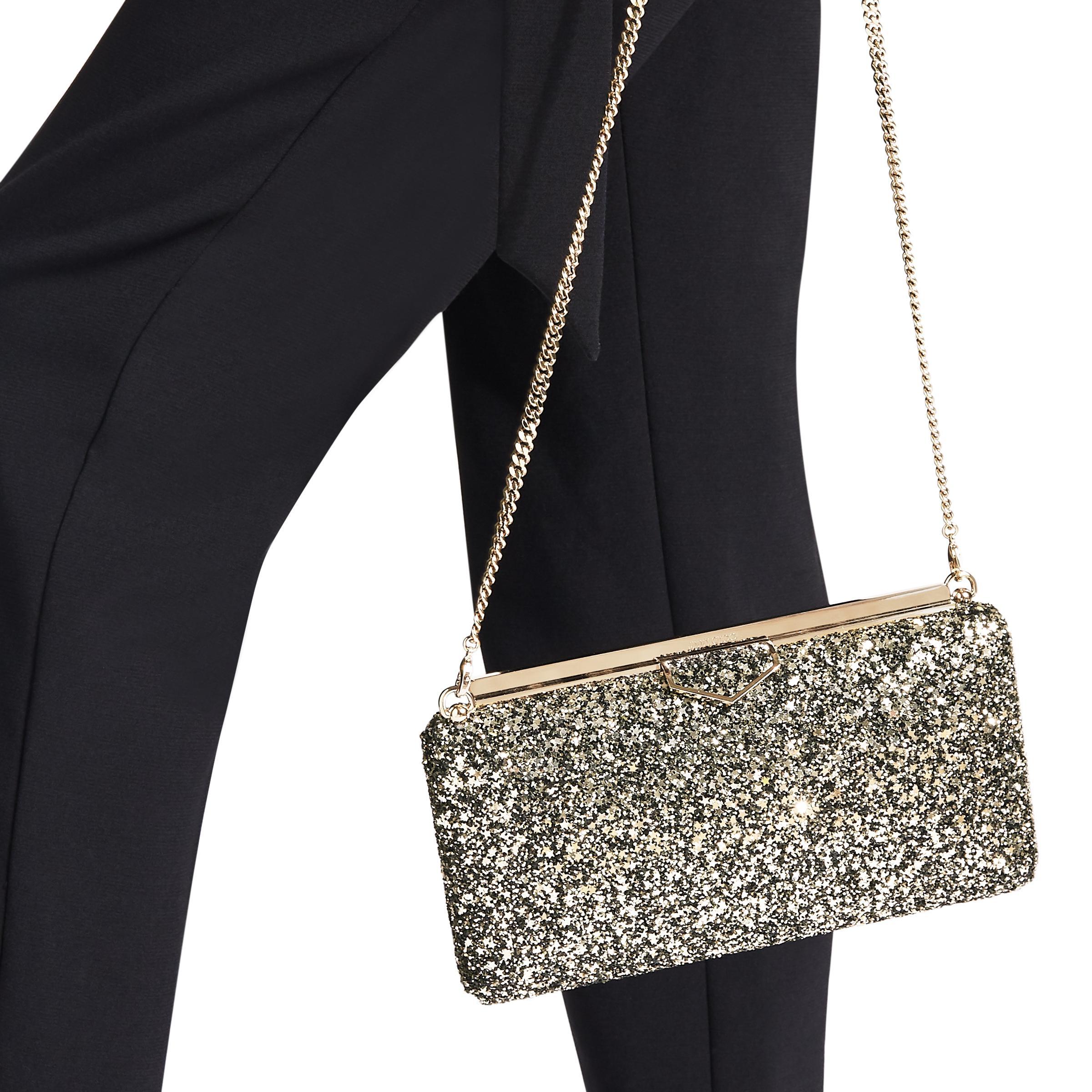 b9096efe3d Jimmy Choo Ellipse Gold Mix Clutch Bag In Star Coarse Glitter Fabric ...
