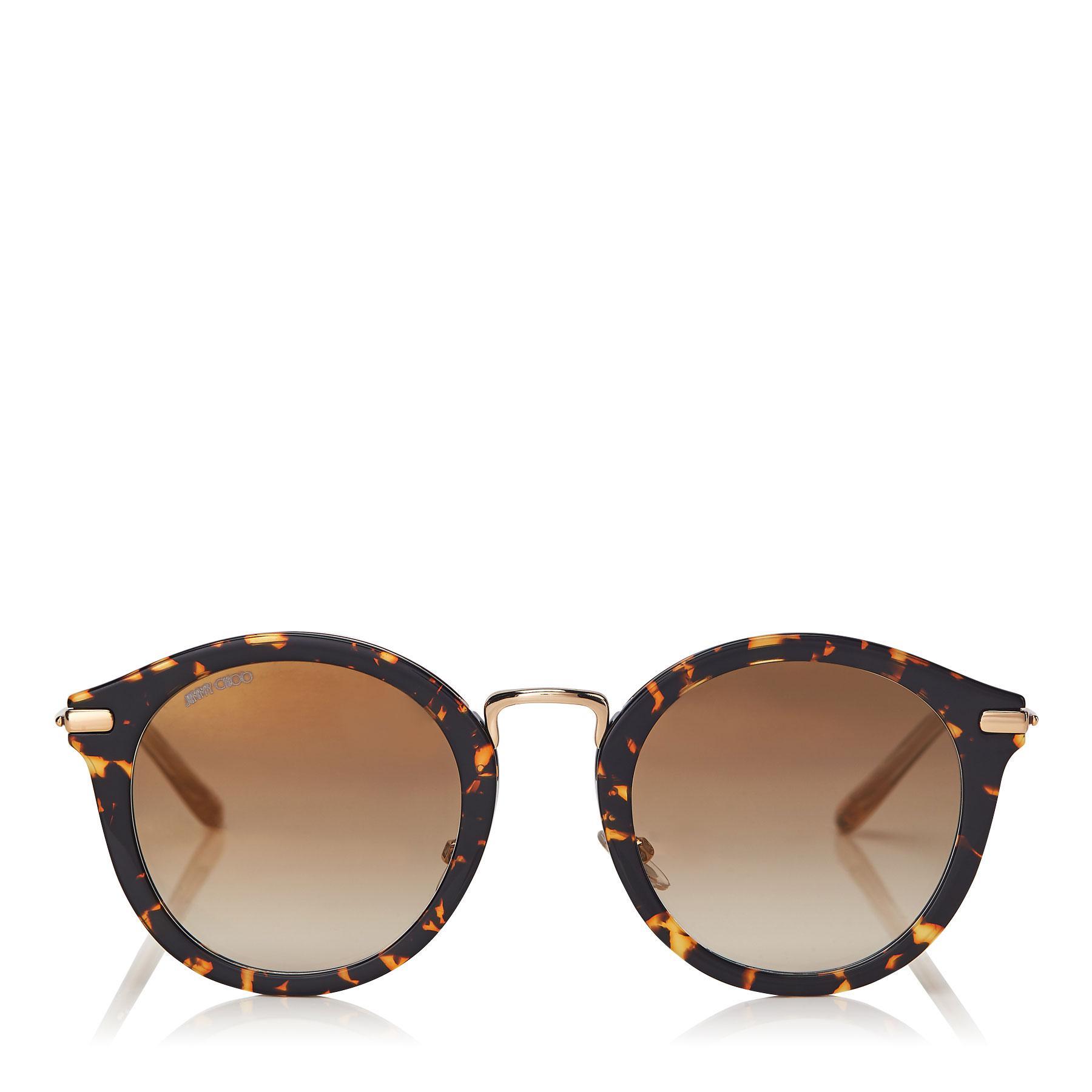 80222be0aef03 Jimmy Choo. Women s Brown Bobby Dark Havana Round Frame Sunglasses With Gold  Mirror Lenses