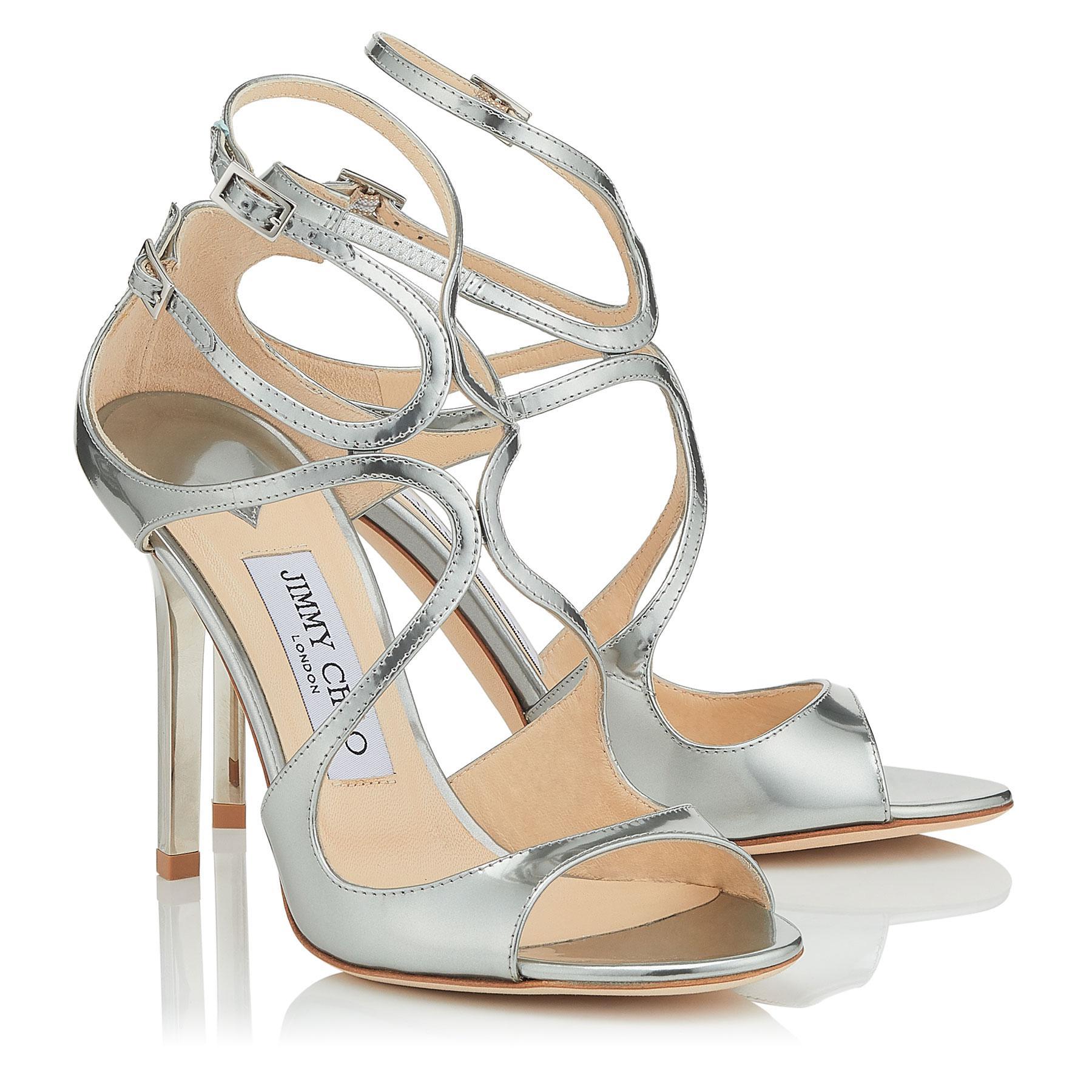 9817b0603322 Lyst - Jimmy Choo Lang Gold Liquid Mirror Leather Sandals in Metallic