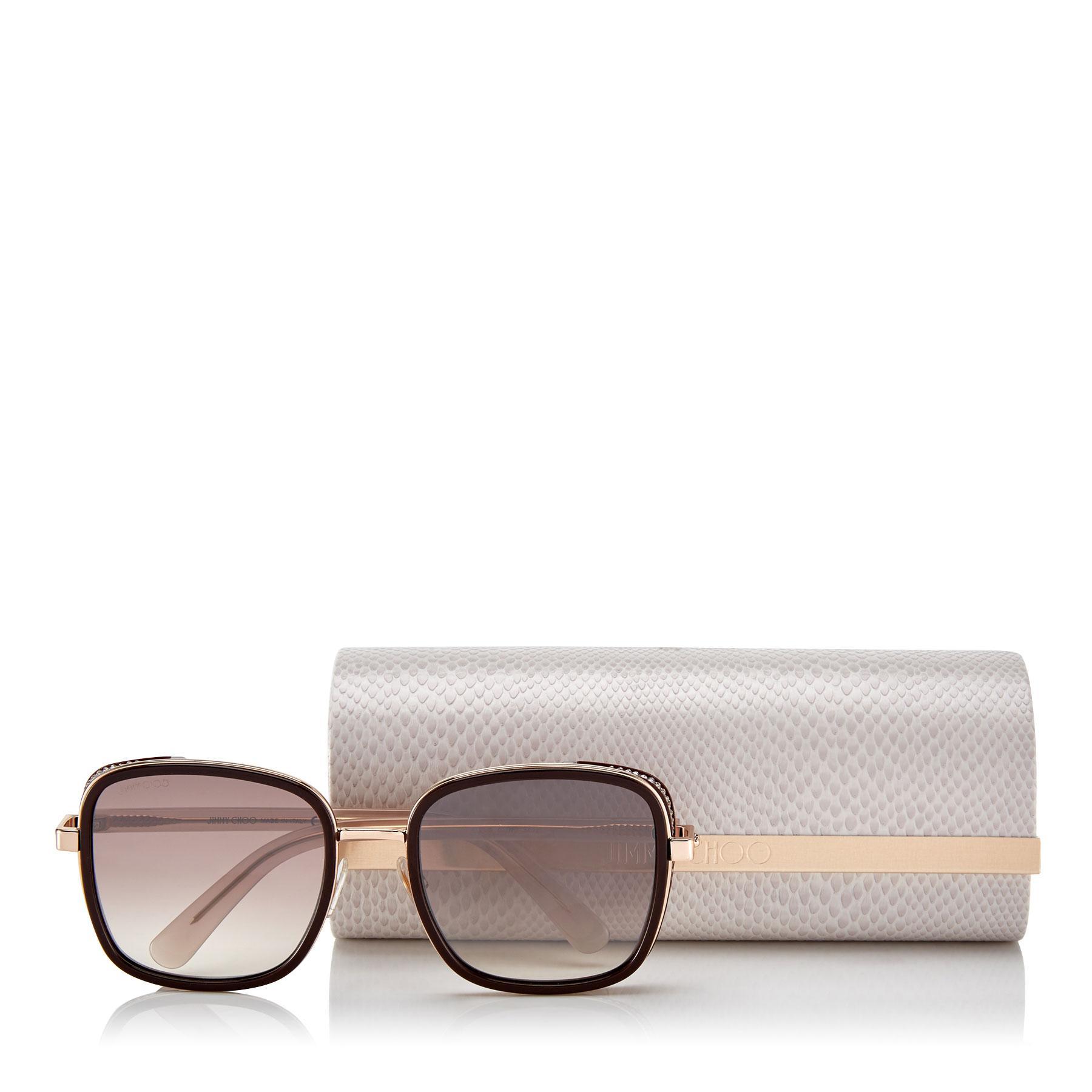 0de944595f4e8 Jimmy Choo - Metallic Elva Black And Rose Gold Metal Oversized Sunglasses  With Leopard Cavallino Leather. View fullscreen