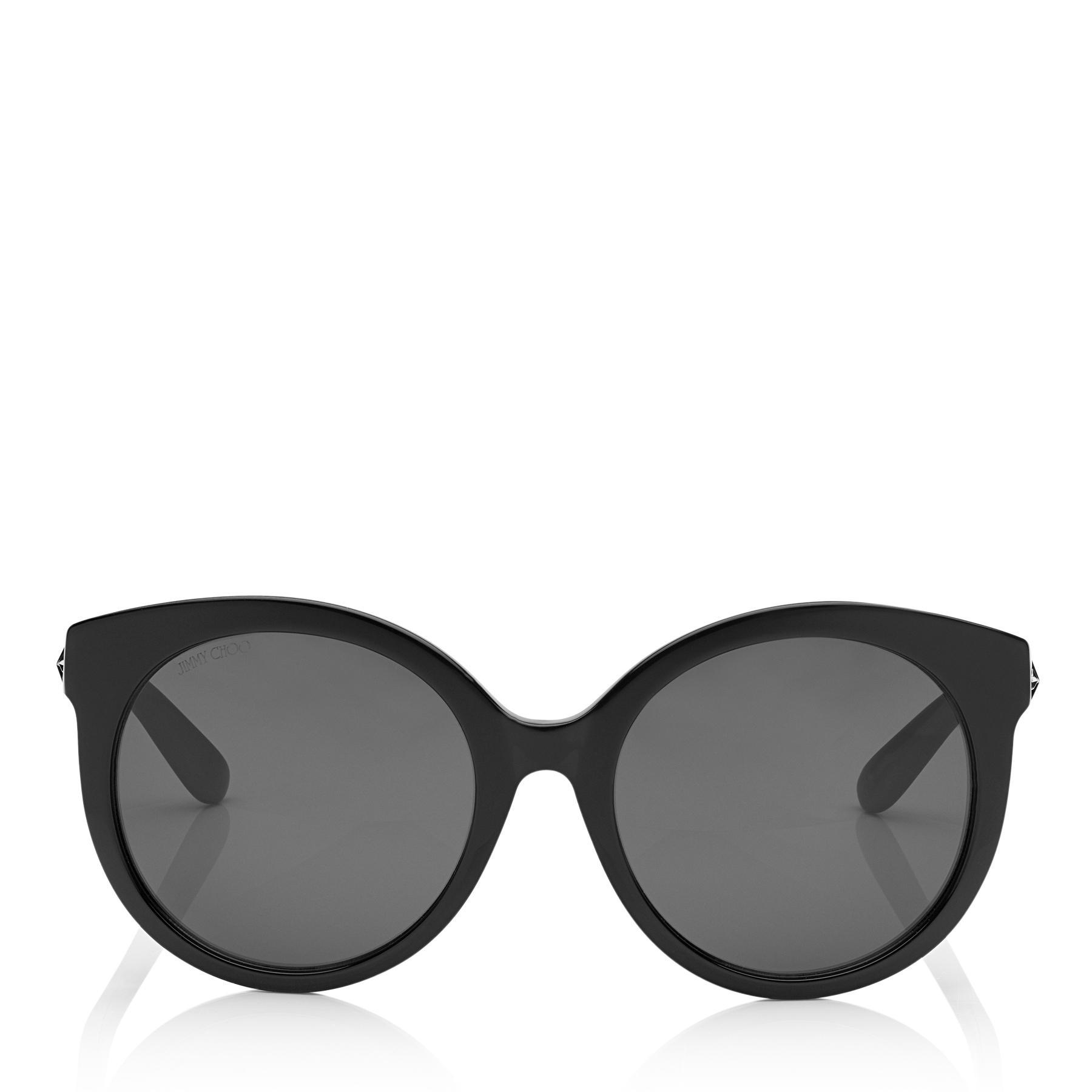 5f23e2d8a92 Jimmy Choo. Women s Astar Black Oversized Sunglasses With Star Stud  Detailing