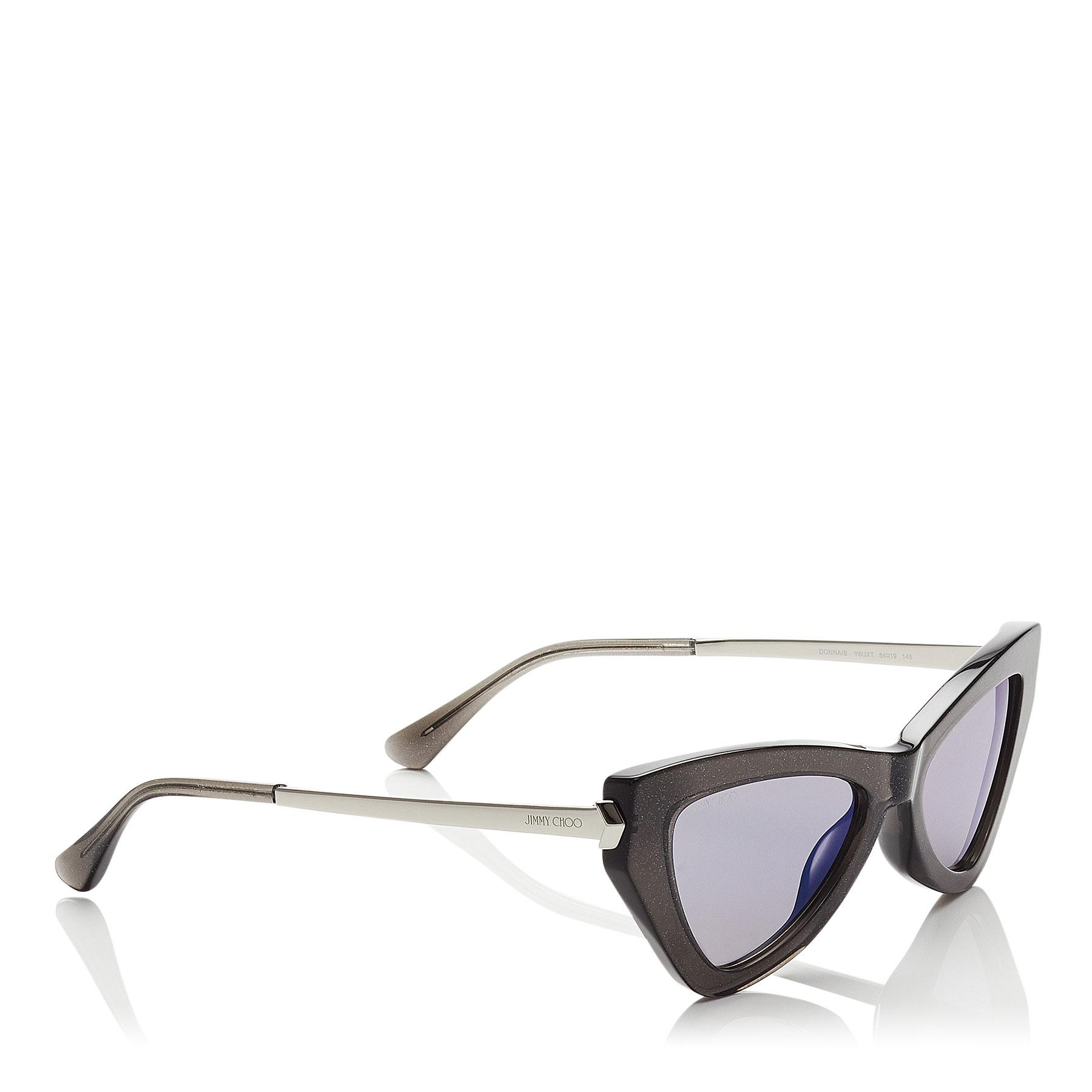 af34db363a1d Jimmy Choo - Multicolor Donna Blue Sky Mirror Cat Eye Sunglasses With Grey  Glitter - Lyst. View fullscreen