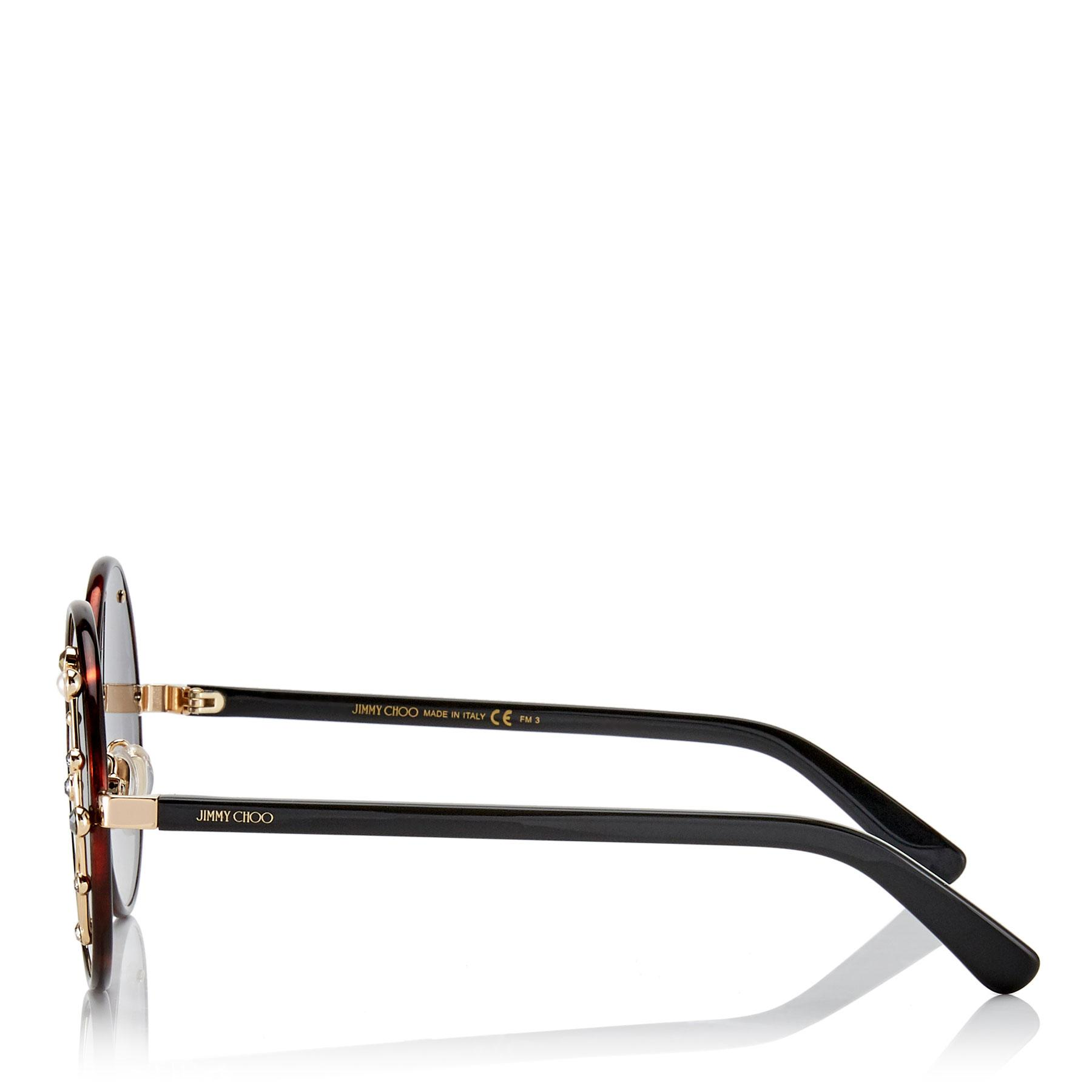 86bd8c03d5c Jimmy Choo - Multicolor Gema Dark Havana Round Shaped Metal Sunglasses With  Swarovski Crystals And Pearls. View fullscreen