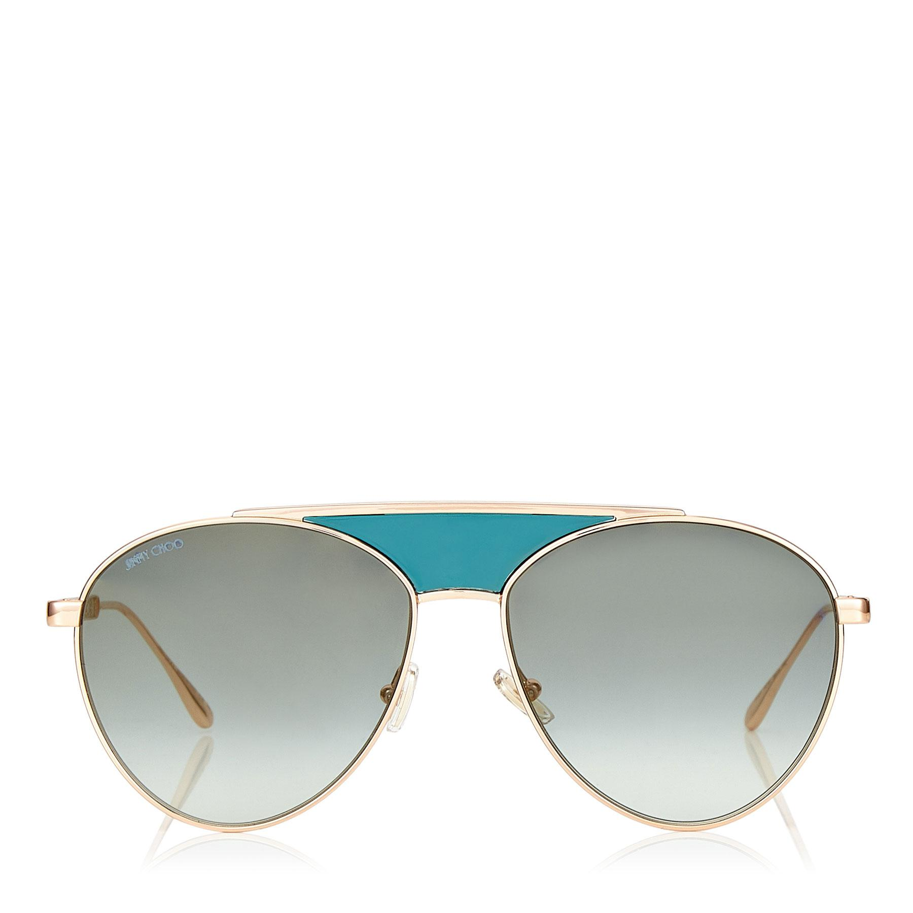 6c38c94b80e2 Jimmy Choo. Women s Ave Gold And Green Metal Aviator Sunglasses With Enamel  Detailing ...