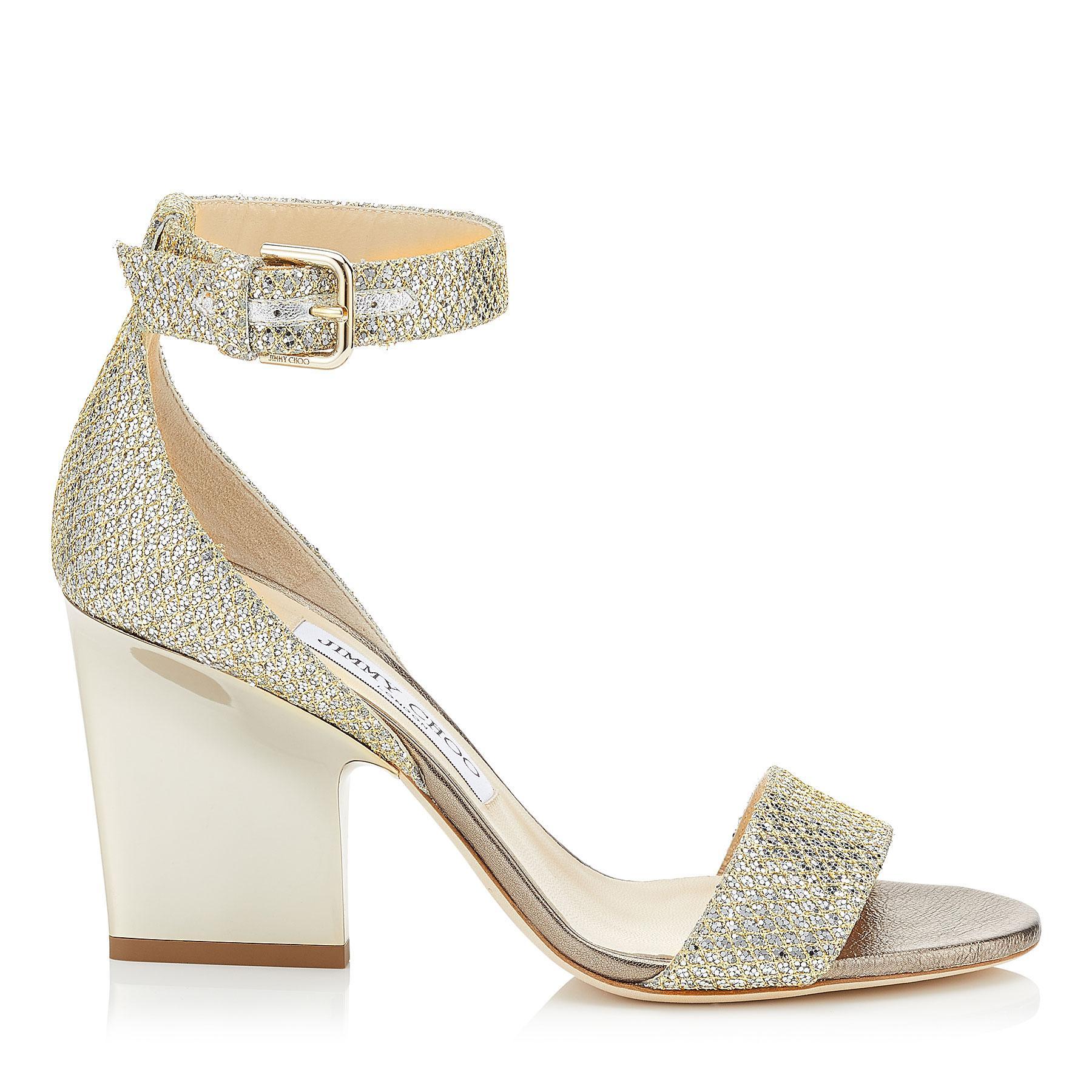 ed54251b5f7 Lyst - Jimmy Choo Edina 85 Champagne Glitter Fabric Wedges in Metallic