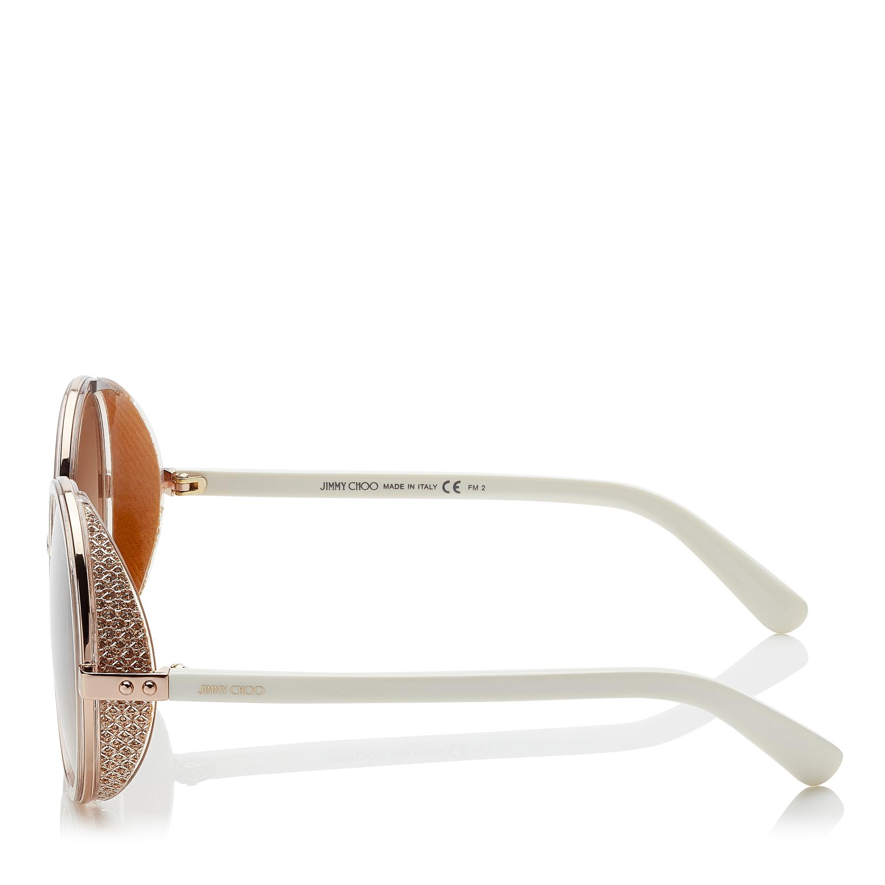 9692c8baa481 Jimmy Choo - Brown Andie White Acetate Round Framed Sunglasses With Gold  Lurex Detailing - Lyst. View fullscreen