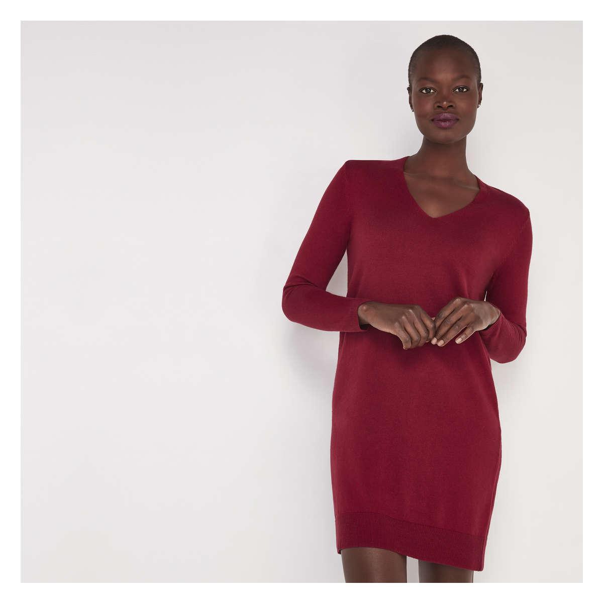 Joe Fresh Women S Red V Neck Sweater Dress