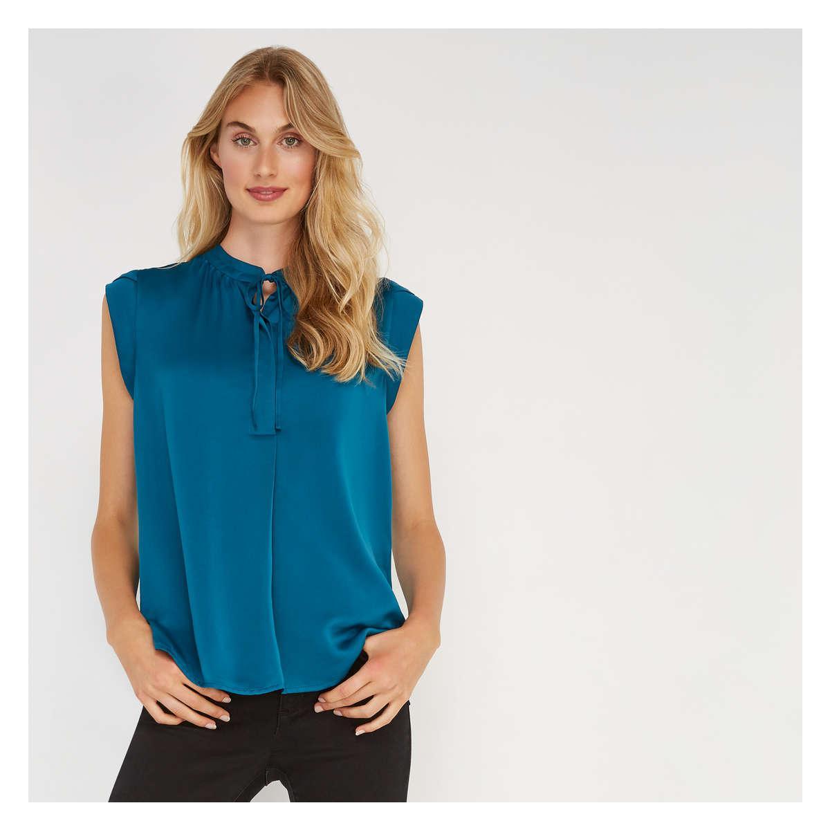 706254f83e2c9 Lyst - Joe Fresh Tie Neck Sleeveless Blouse in Blue