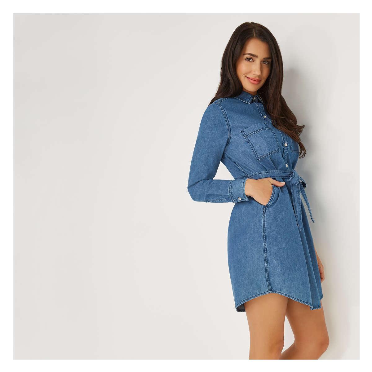 e1d4bfae795 Joe Fresh - Blue Denim Shirt Dress - Lyst. View fullscreen