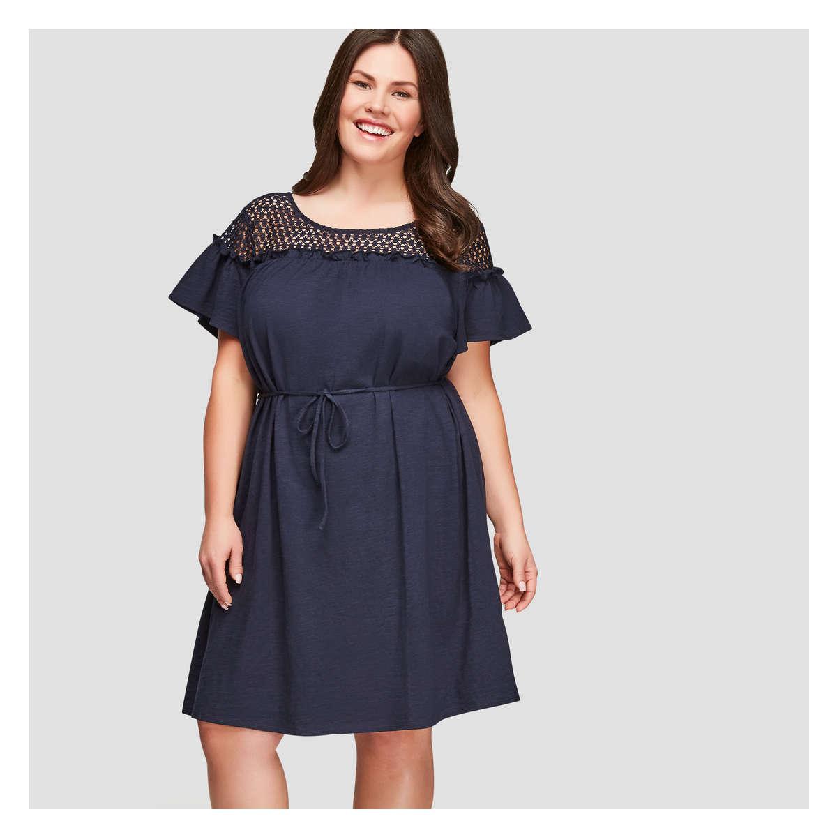 edafd1f55a Joe Fresh Women+ Lace Yoke Short Sleeve Dress in Blue - Lyst