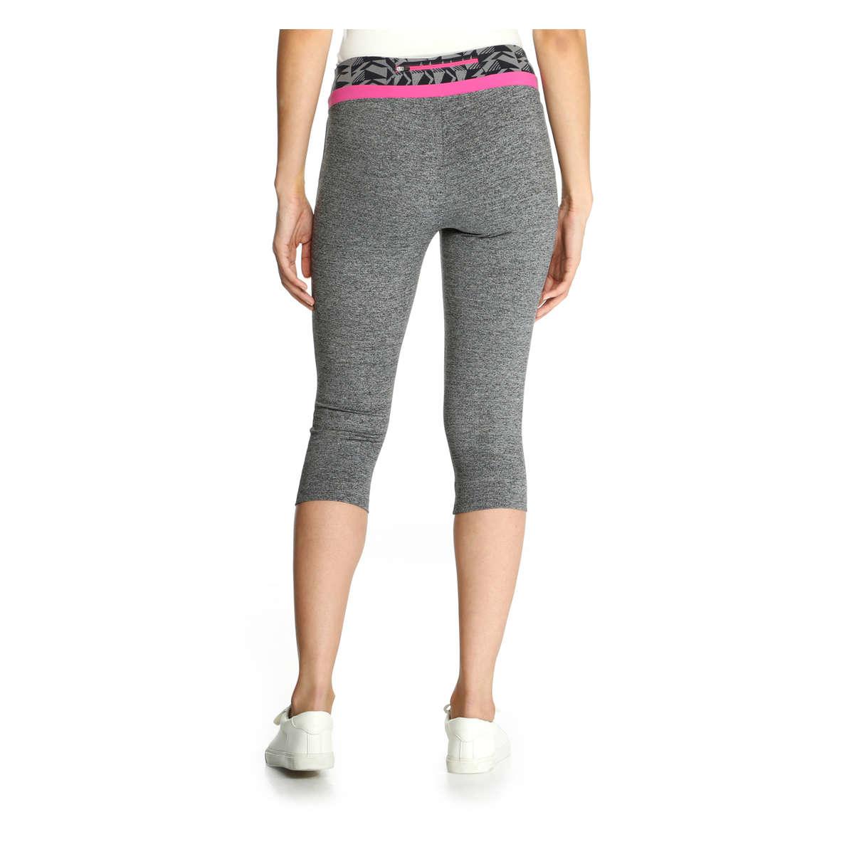 Joe Fresh Contrast Waist Cropped Yoga Legging In Gray