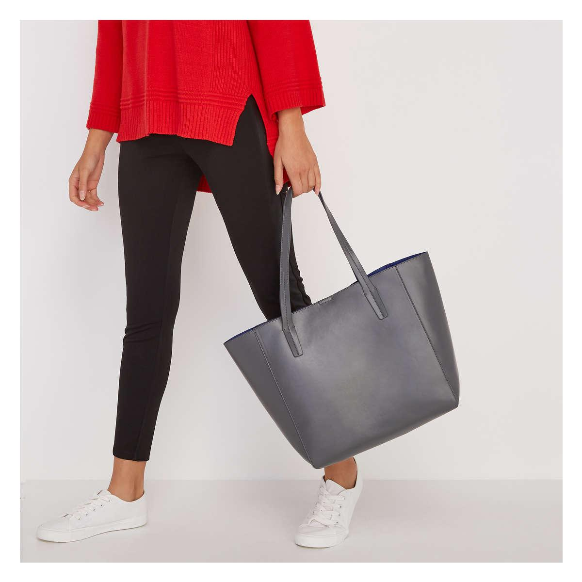 Joe Fresh Faux Leather Tote in Gray - Lyst a1954dc07962f