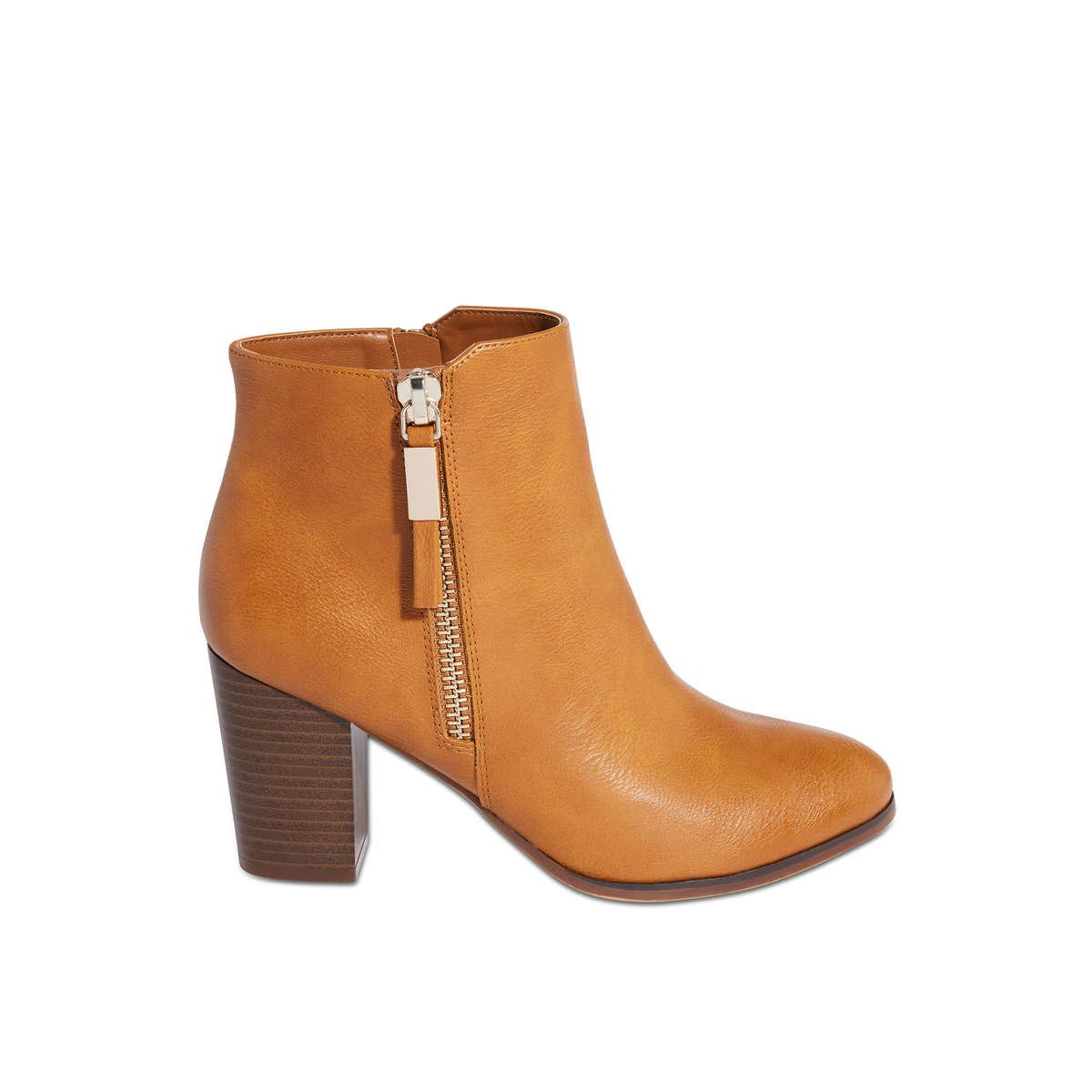 427a473dc4e8 Lyst - Joe Fresh Block Heel Side Zip Bootie in Brown