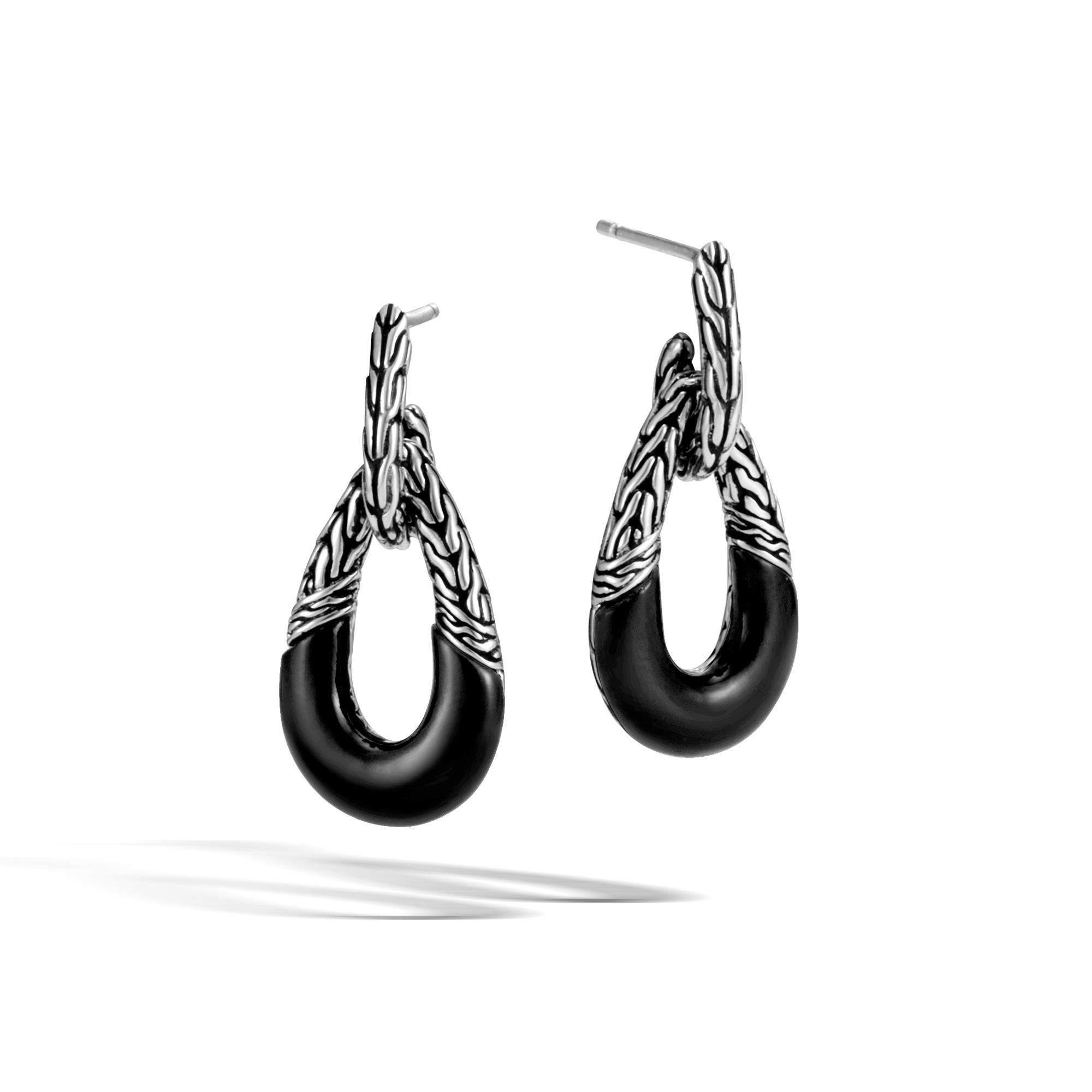 John Hardy Classic Chain Hoop Earring With Onyx Black onyx 6bpZGIe